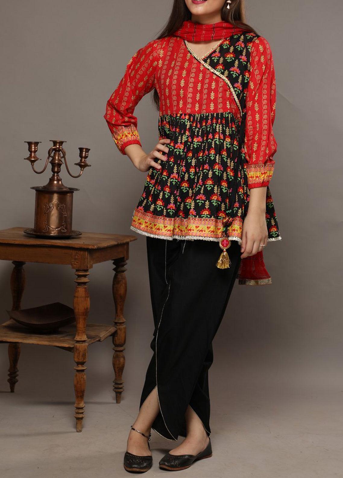 Senorita Lawn Casual 3 Piece Suit for Girls -  GBD-01550 RED/BLACK