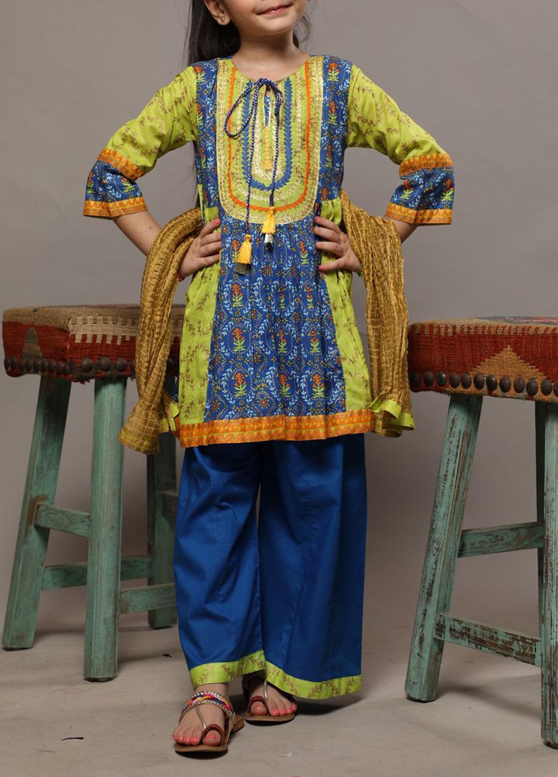 Senorita Lawn Casual 3 Piece Suit for Girls -  KBD-01559 BLUE