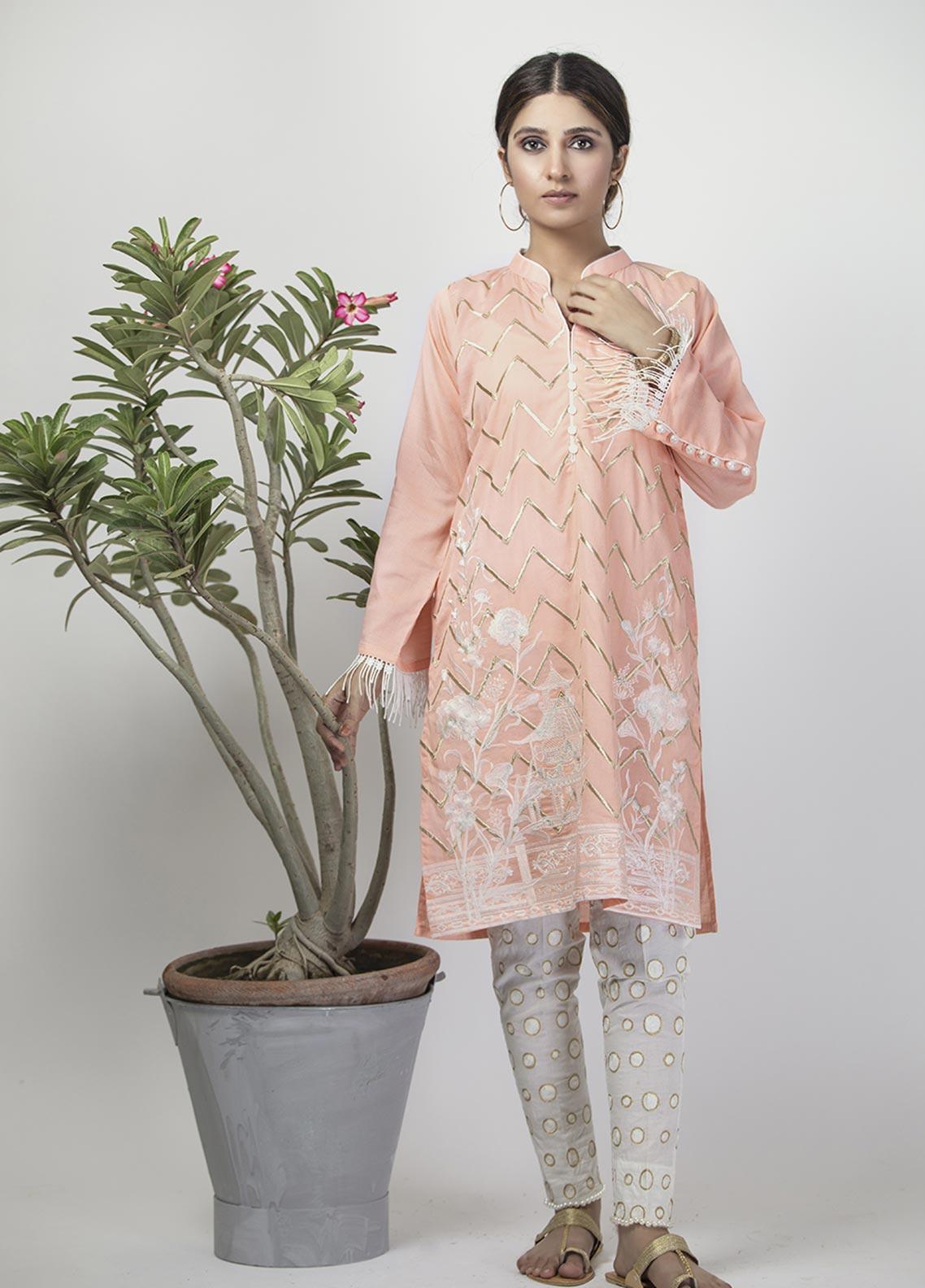 Senorita Casual Cotton Stitched Kurtis LAA-01322 PEACH
