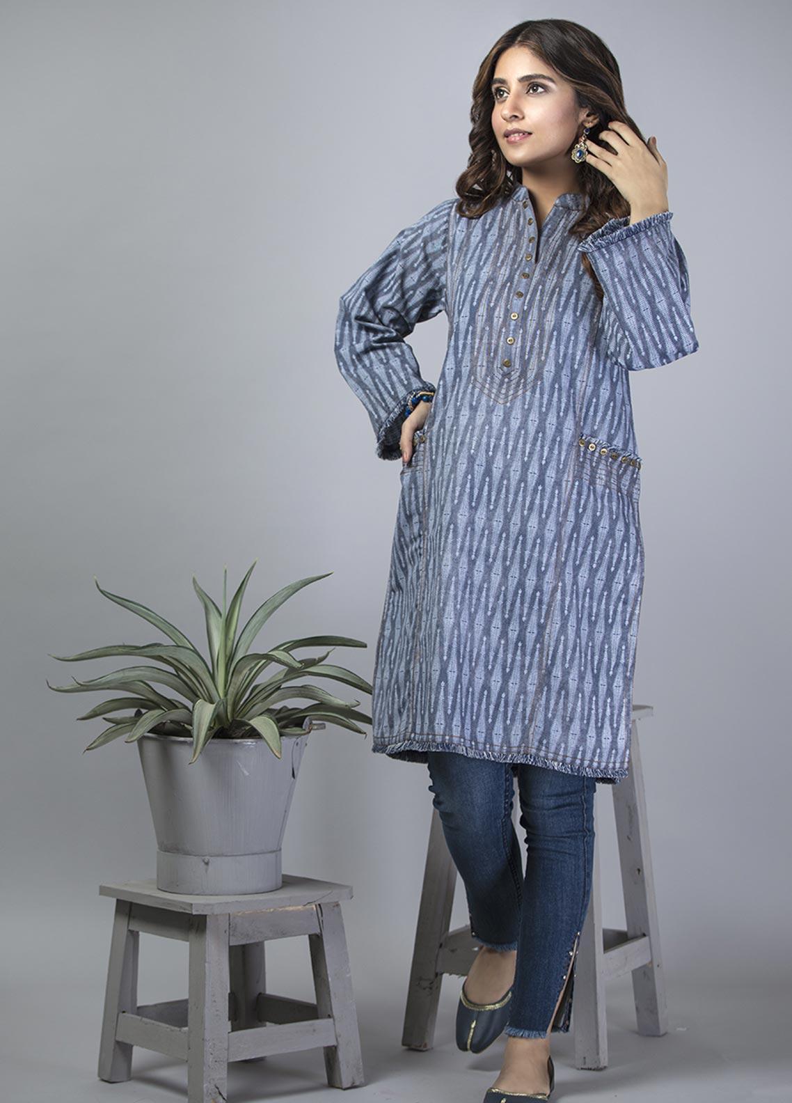 Senorita Casual Cotton Stitched Kurtis LAA-01401-BLUE