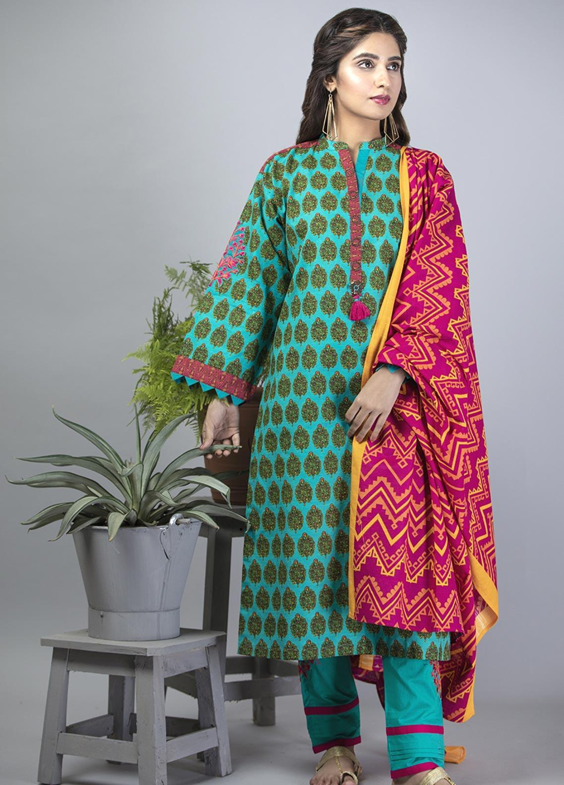 Senorita Casual Cotton Stitched 3 Piece Suit LAD-01385-SEA GREEN