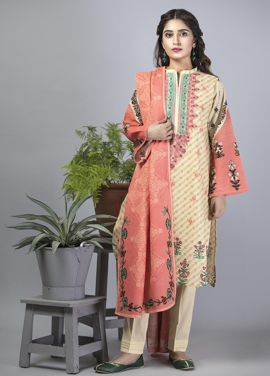 Senorita Casual Cotton Stitched 3 Piece Suit LAD-01403-FAWN - PEACH