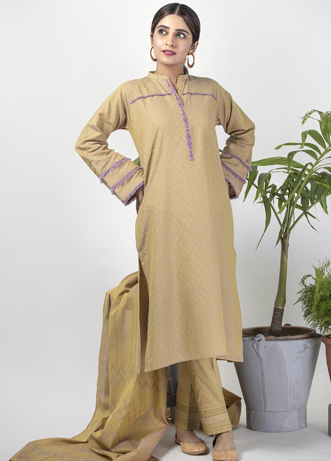 Senorita Casual Cotton Stitched 3 Piece Suit LBD-01406-YELLOW - PURPLE
