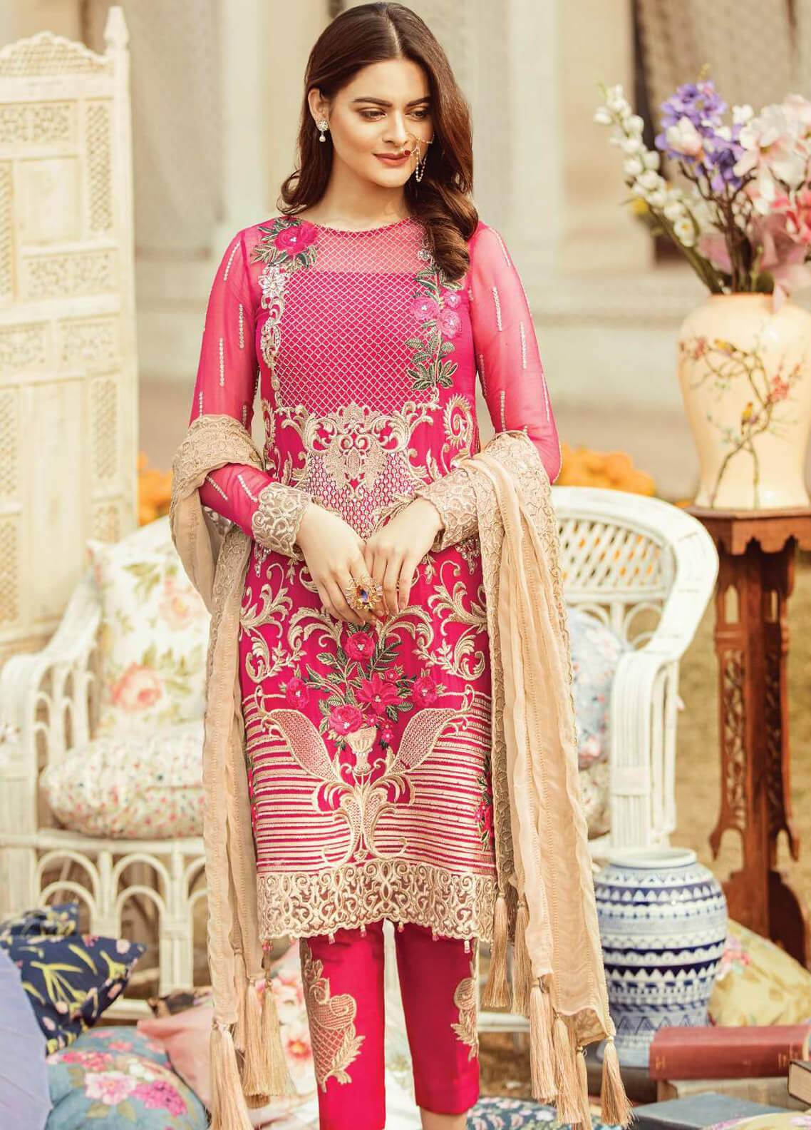 Serene Premium Embroidered Chiffon Unstitched 3 Piece Suit SEI19PC 01 Rose D' or - Premium Collection