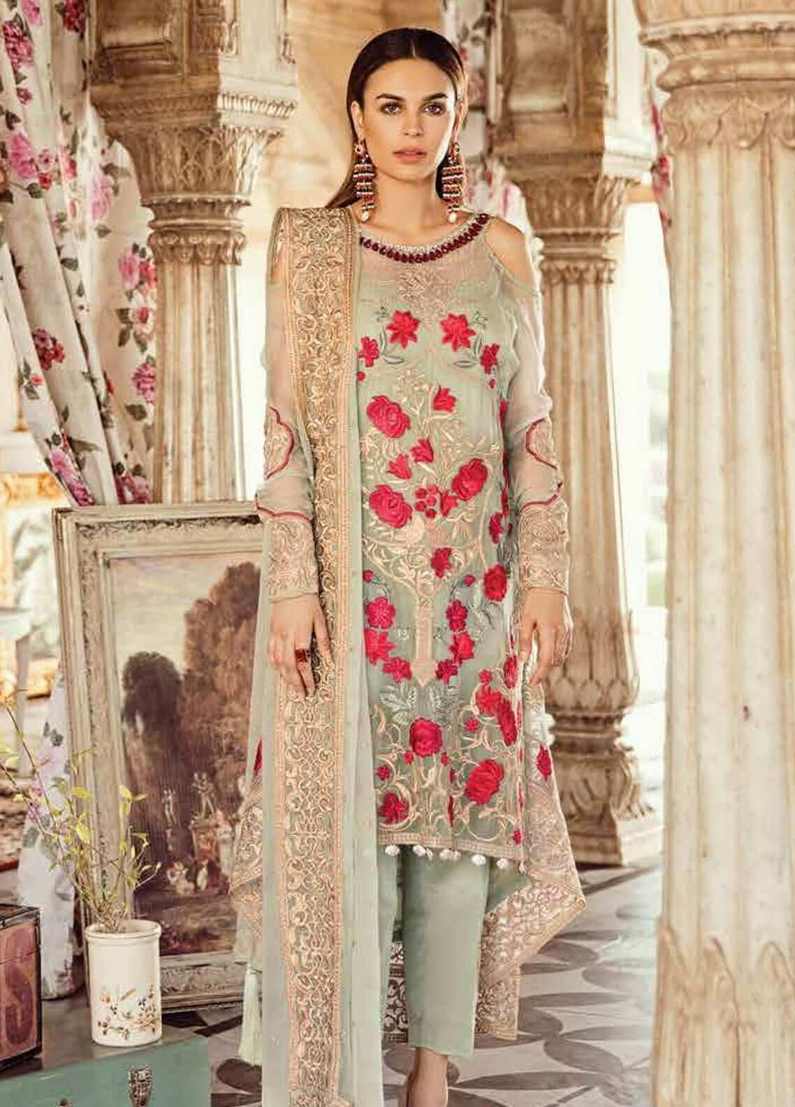 Imrozia by Serene Embroidered Chiffon Unstitched 3 Piece Suit SEI19KM 802 GUL-E-GULZAAR - Luxury Collection