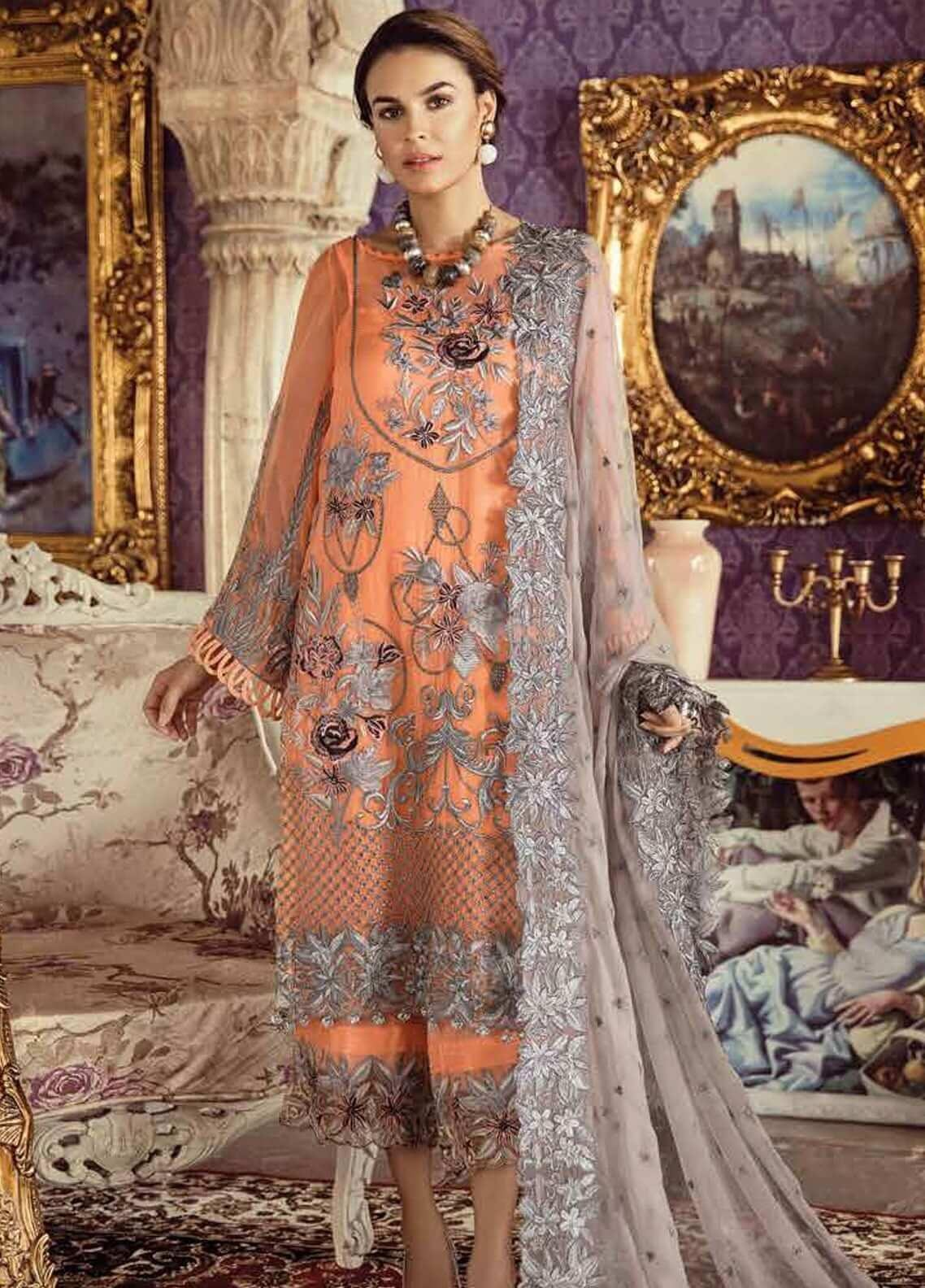 Imrozia by Serene Embroidered Chiffon Unstitched 3 Piece Suit SEI19KM 803 AFSANA-E-NAARANJI - Luxury Collection