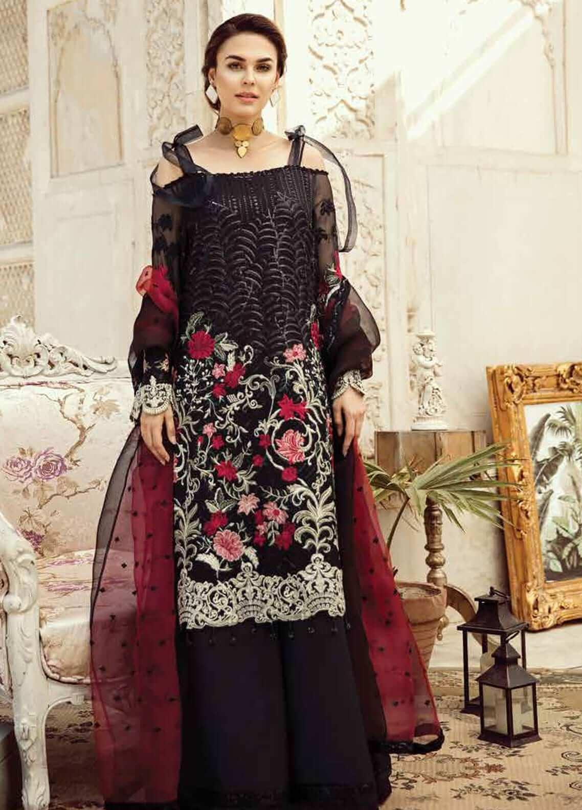 Imrozia by Serene Embroidered Chiffon Unstitched 3 Piece Suit SEI19KM 807 SHAB-E-MEHTAB - Luxury Collection