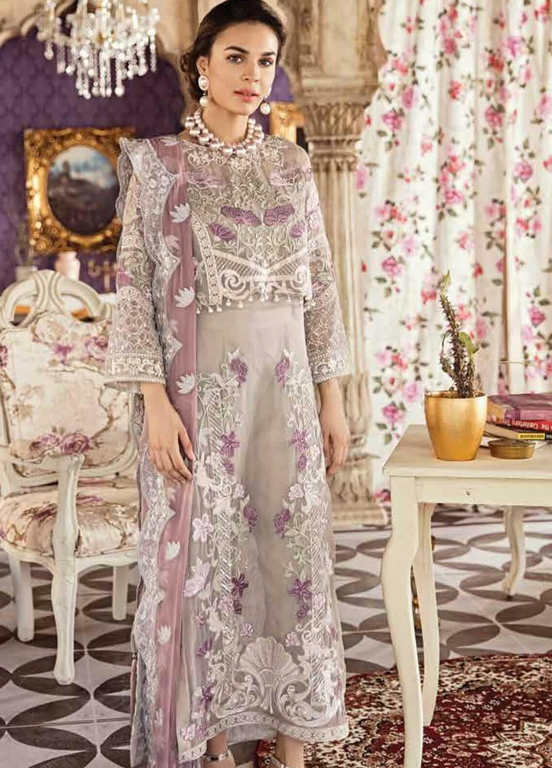 Imrozia by Serene Embroidered Chiffon Unstitched 3 Piece Suit SEI19KM 808 JAAM-E-KHUMAAR - Luxury Collection