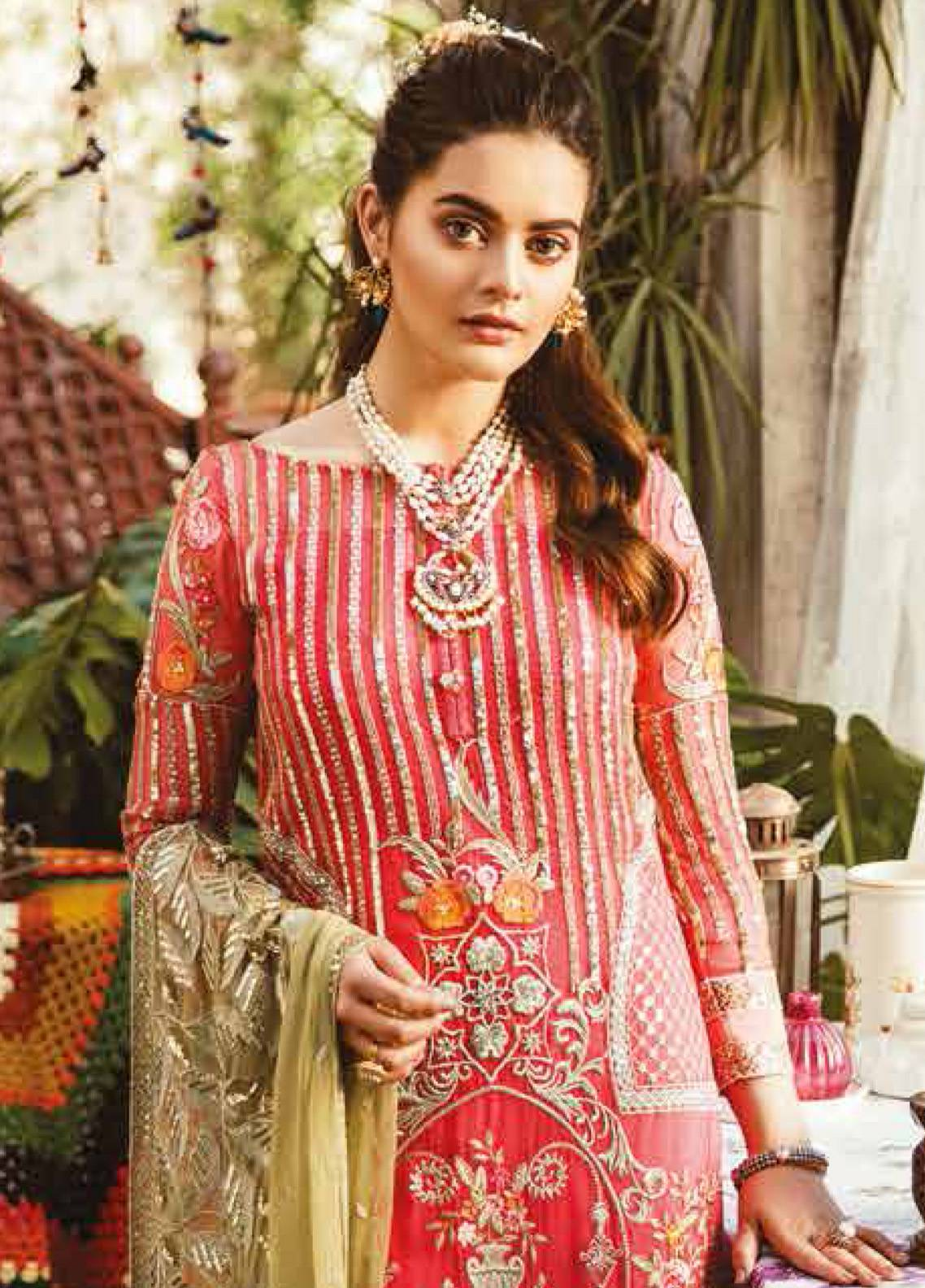 f9bc3c0b28 Imrozia by Serene Embroidered Chiffon Unstitched 3 Piece Suit SEI19E 703  THE SWEETENED STRIPES - Luxury Collection