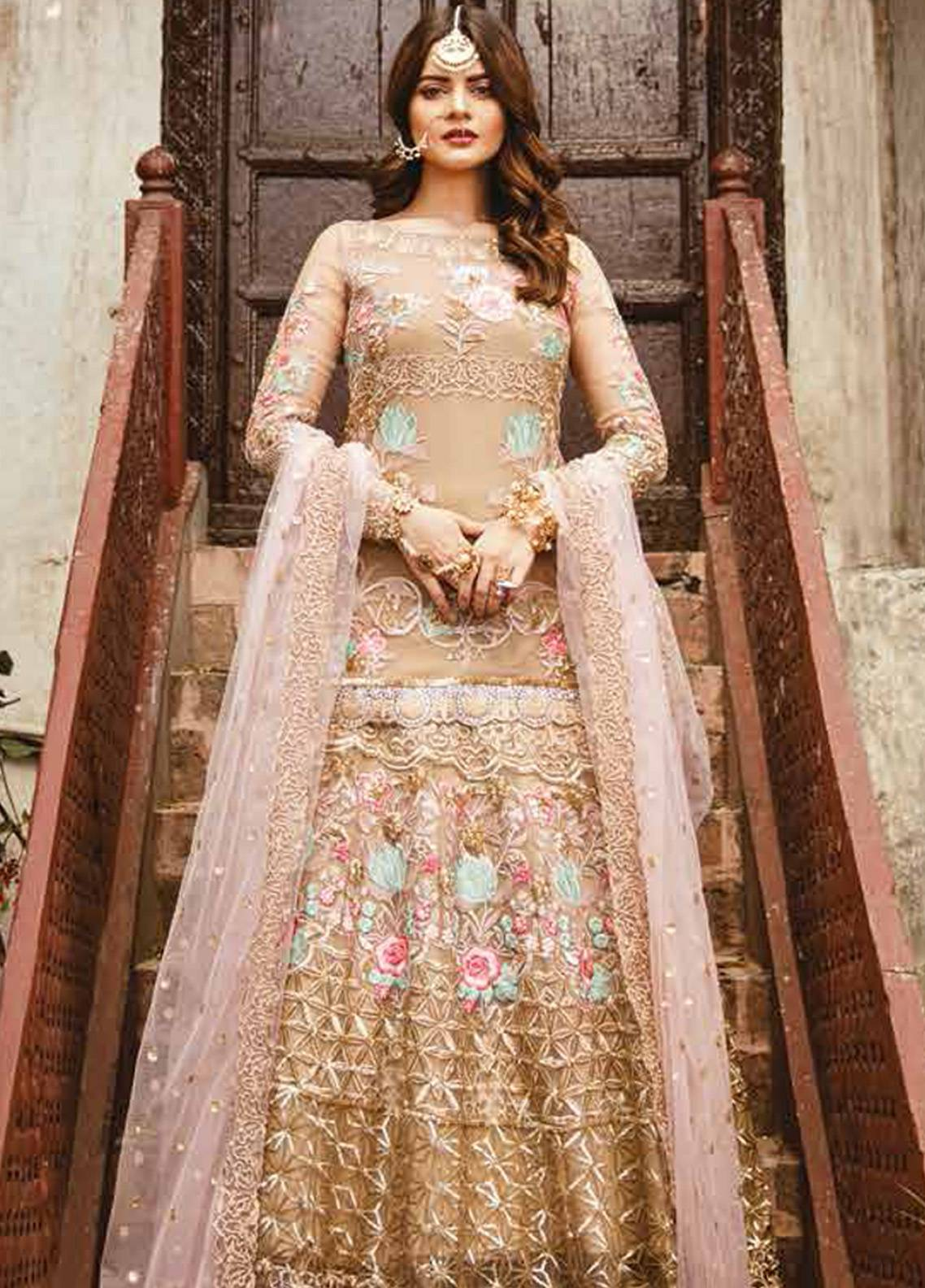 Imrozia by Serene Embroidered Chiffon Unstitched 3 Piece Suit SEI19E 710 THE BRONZE TINGE - Luxury Collection