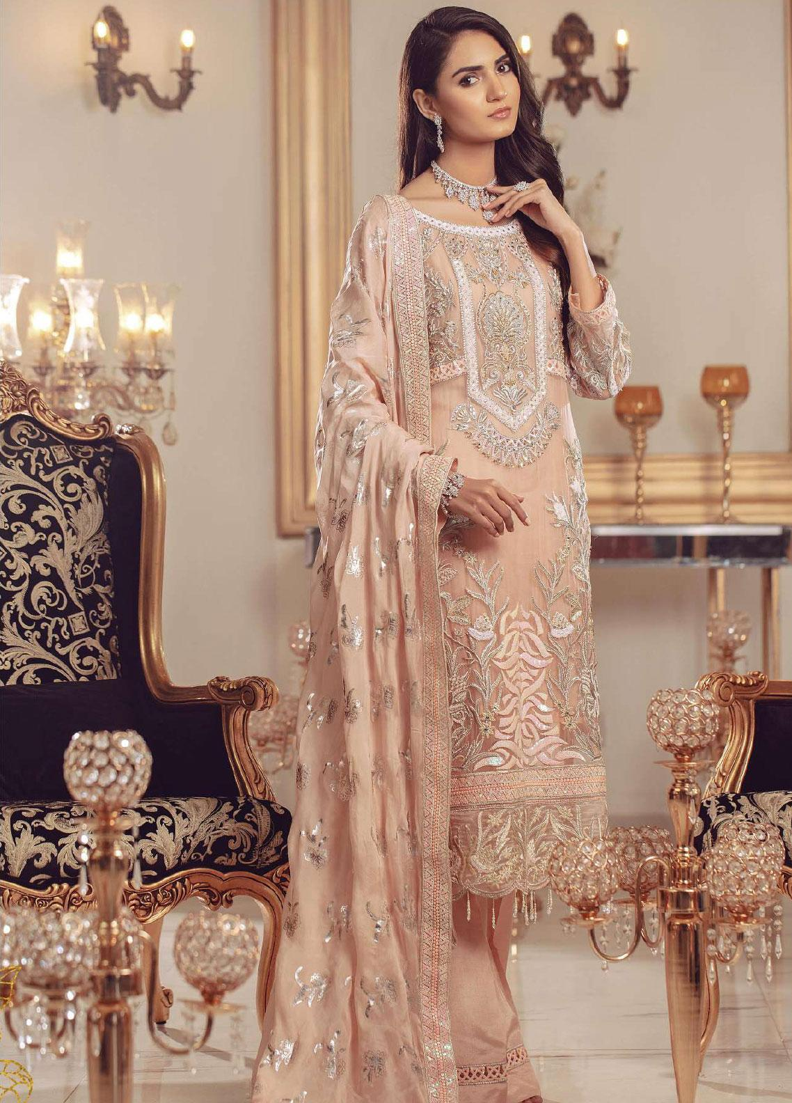 Serene Premium Embroidered Chiffon Unstitched 3 Piece Suit SMP20BL 1001 - Luxury Collection