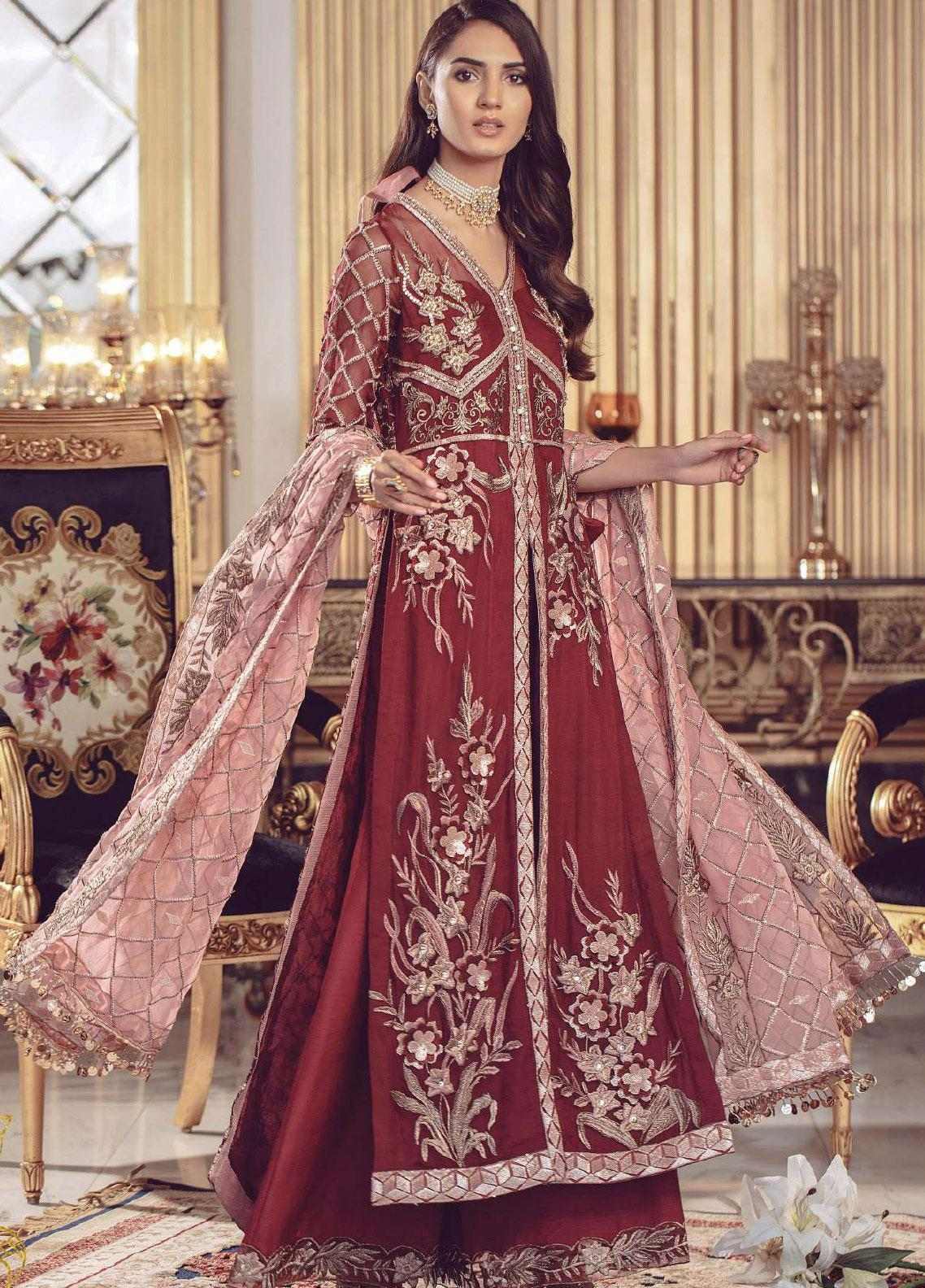 Serene Premium Embroidered Chiffon Unstitched 3 Piece Suit SMP20BL 1003 - Luxury Collection