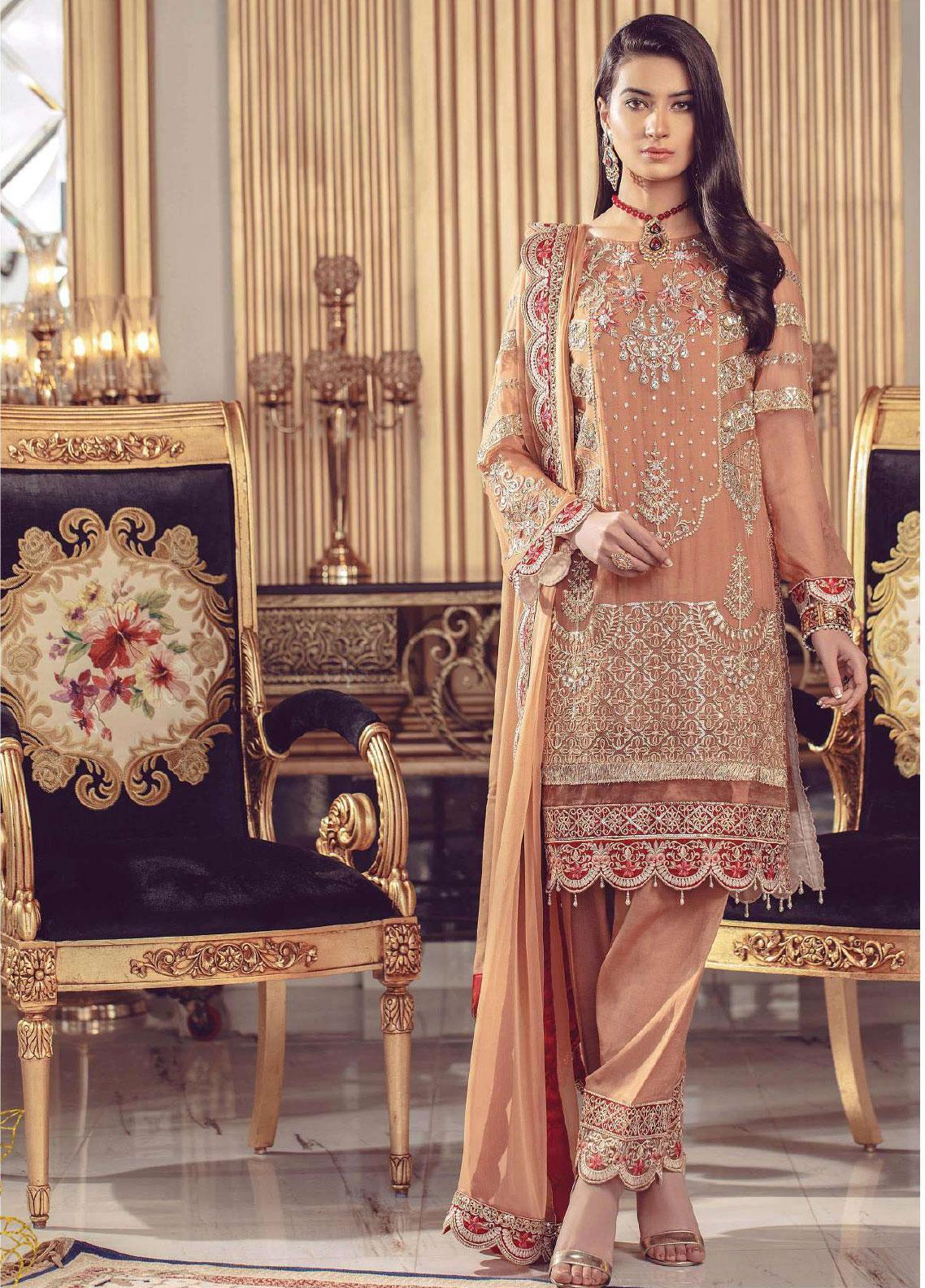 Serene Premium Embroidered Chiffon Unstitched 3 Piece Suit SMP20BL 1004 - Luxury Collection