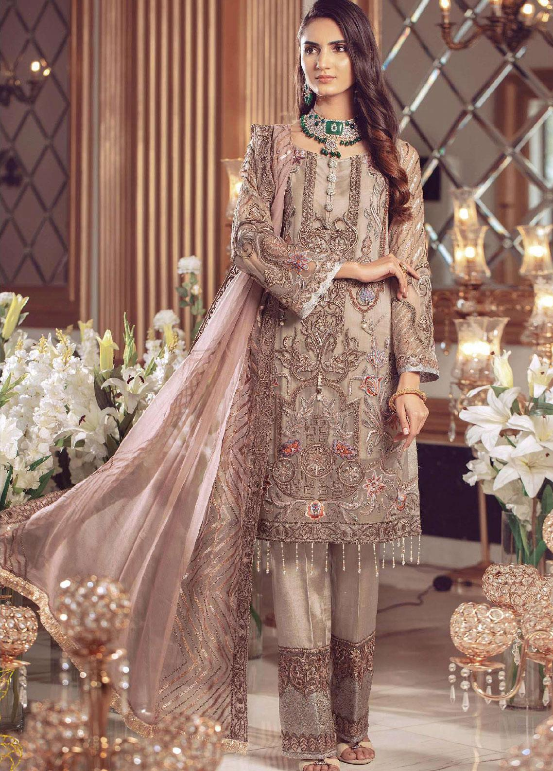 Serene Premium Embroidered Chiffon Unstitched 3 Piece Suit SMP20BL 1007 - Luxury Collection