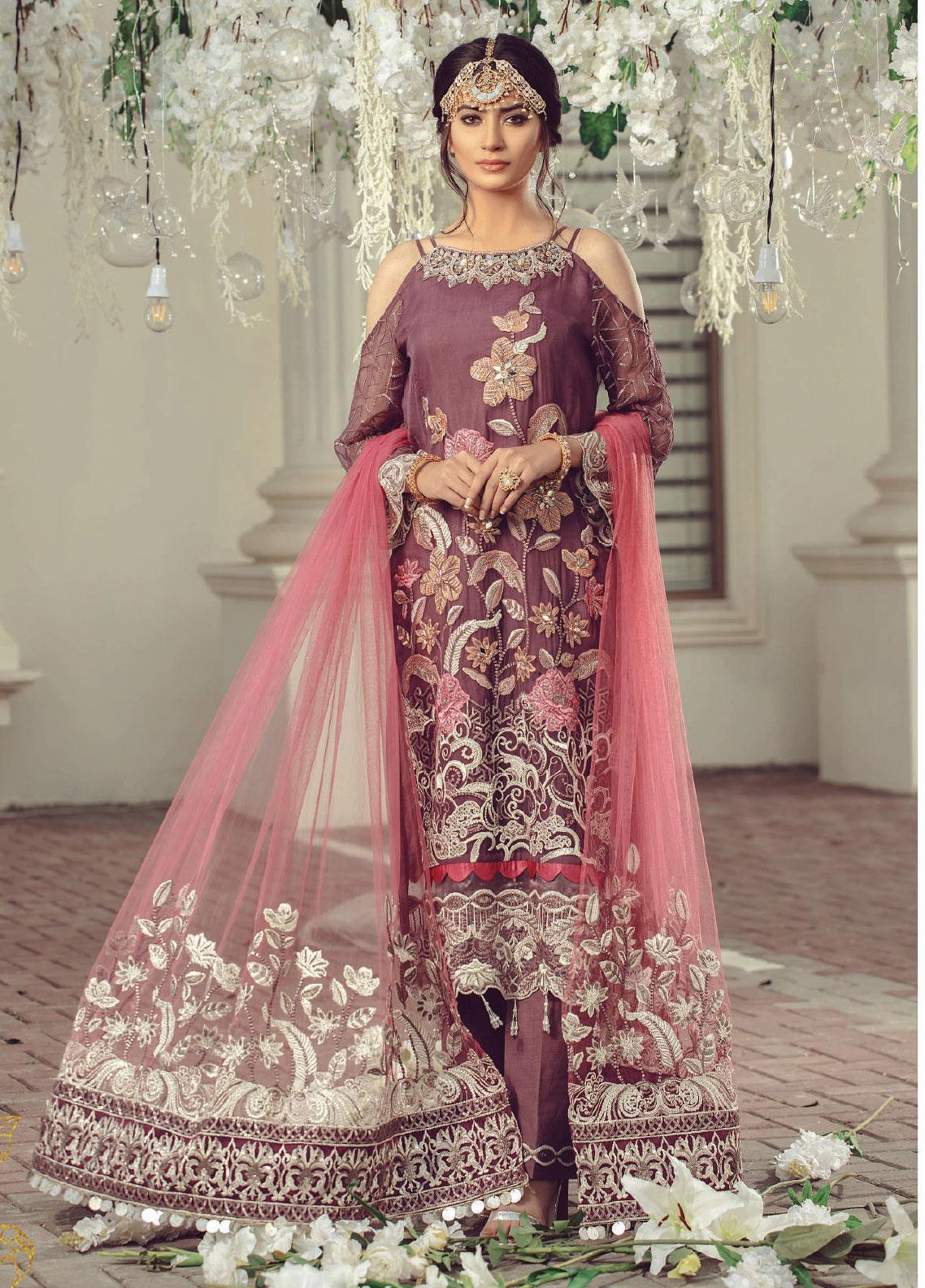 Serene Premium Embroidered Chiffon Unstitched 3 Piece Suit SMP20BL 1010 - Luxury Collection
