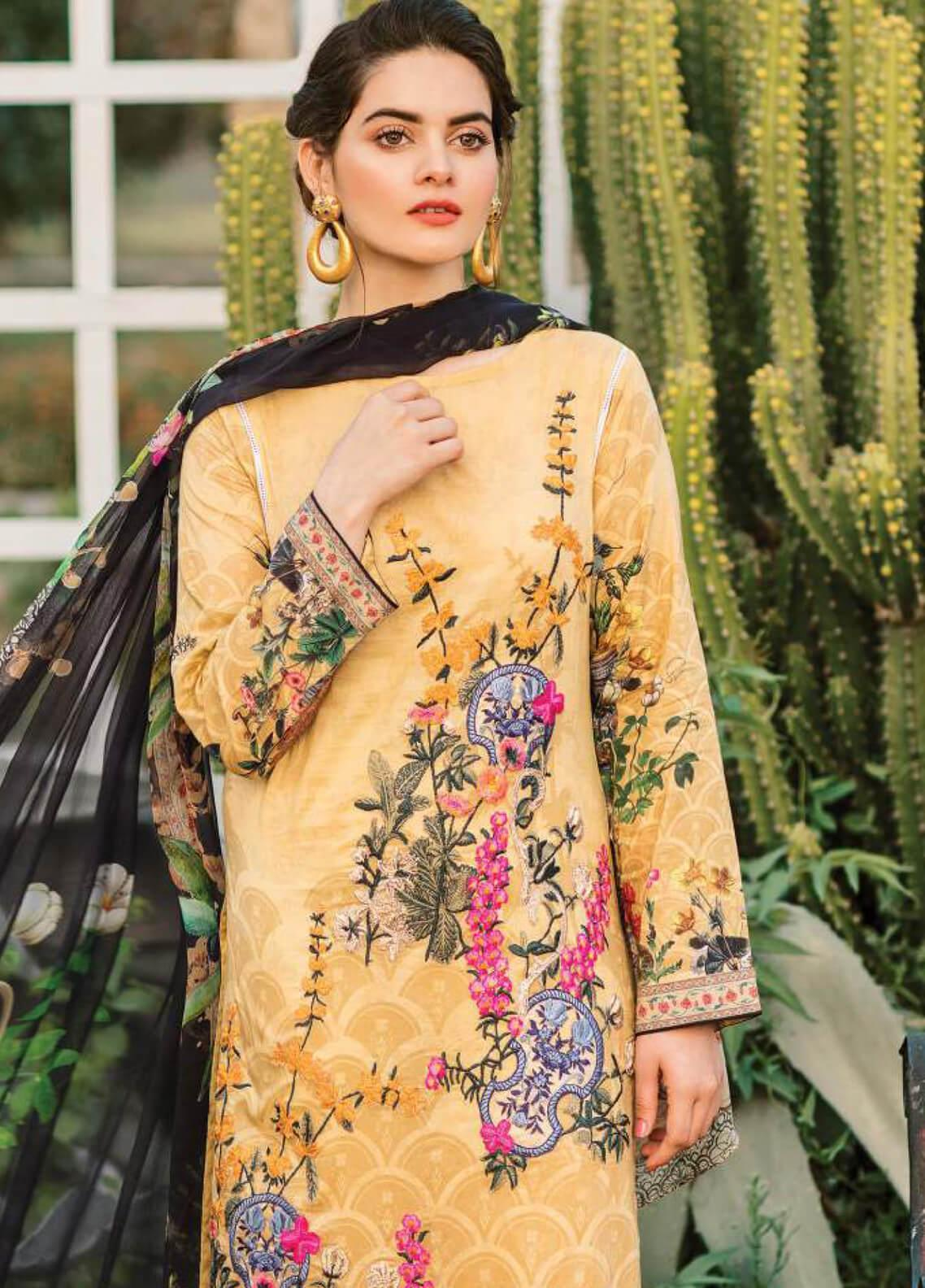 b21ca29193 Serene Premium Embroidered Lawn Unstitched 3 Piece Suit SPM19L 05 BEE  DAZZLE - Spring / Summer