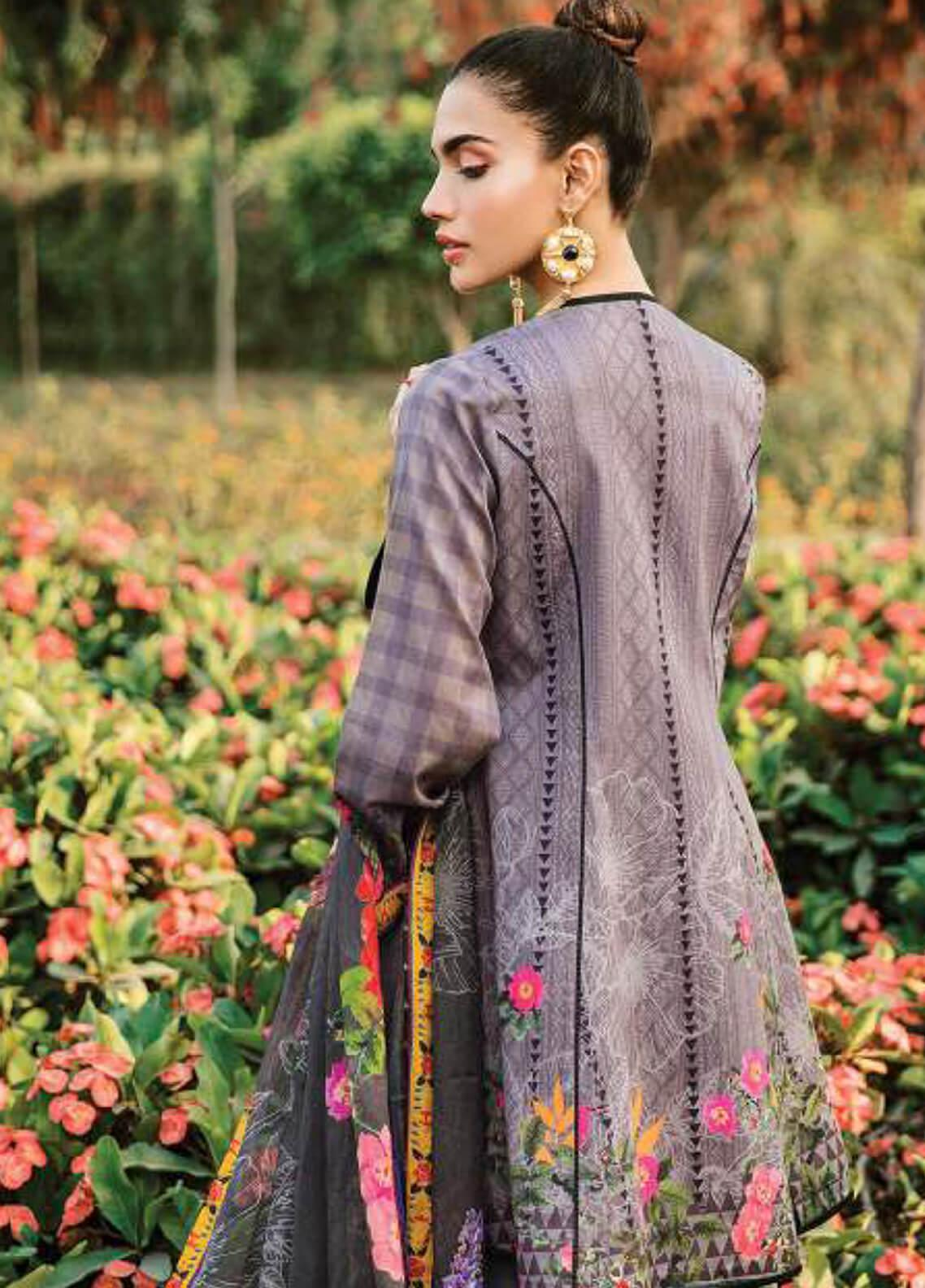 b71360a944 Serene Premium Embroidered Lawn Unstitched 3 Piece Suit SPM19L 06 DEWDROP  LAVENDER - Spring / Summer Collection
