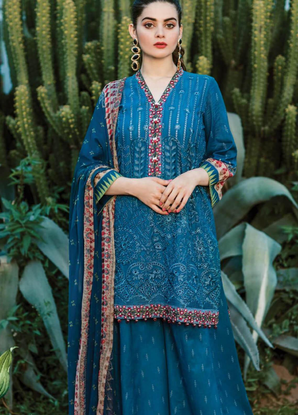 Serene Premium Embroidered Lawn Unstitched 3 Piece Suit SPM19L 13 BLUESTA VISTA - Spring / Summer Collection