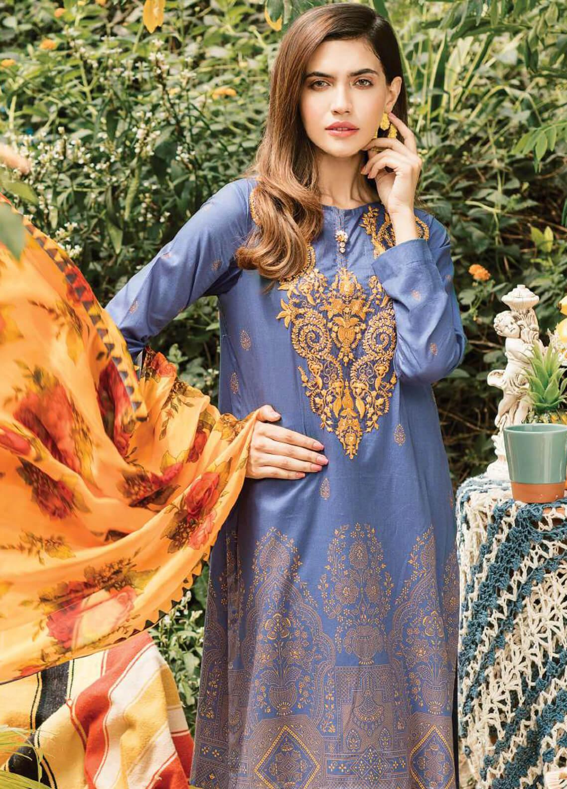Serene Premium Embroidered Lawn Unstitched 3 Piece Suit SPM19L 17 MIDNIGHT BLISS - Spring / Summer Collection