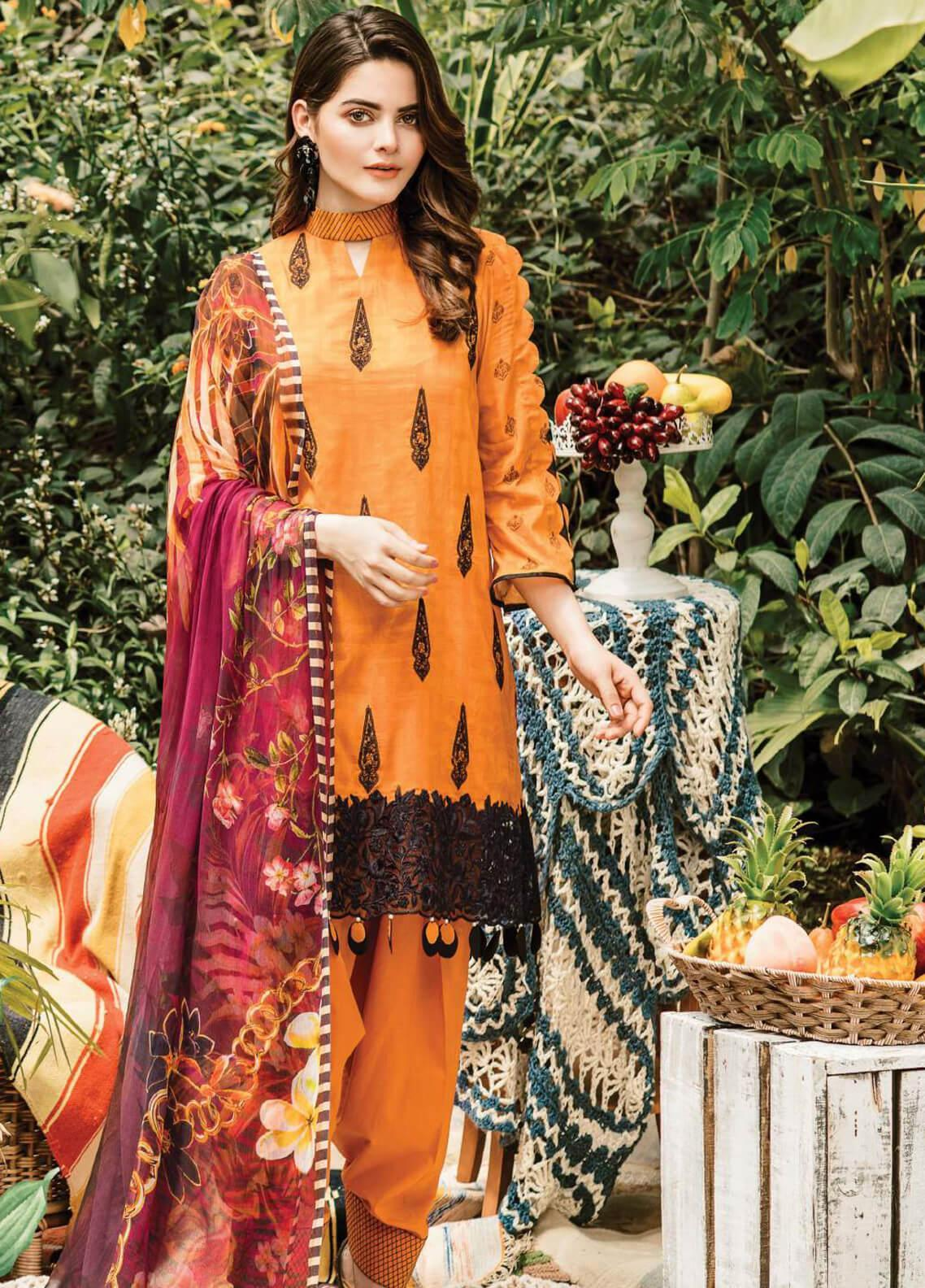 Serene Premium Embroidered Lawn Unstitched 3 Piece Suit SPM19L 18 TIGRESS PRIDE - Spring / Summer Collection