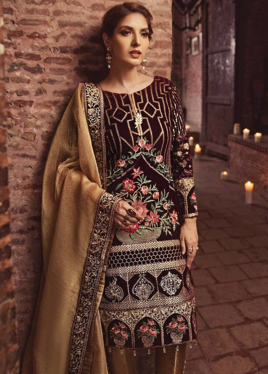 Serene Premium Embroidered Chiffon Unstitched 3 Piece Suit SPM18F 06 - Festiva Collection