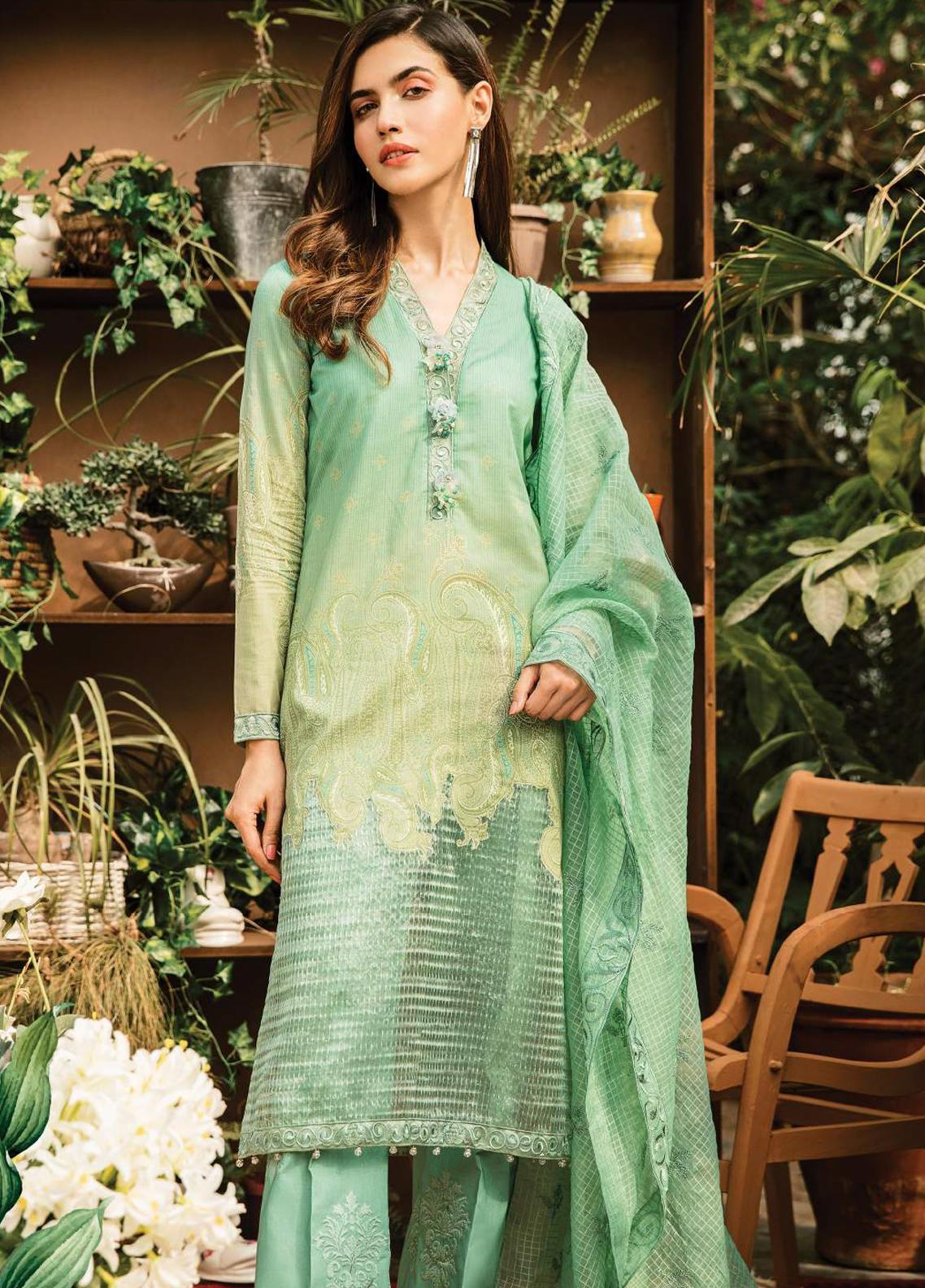 Serene Premium Embroidered Lawn Unstitched 3 Piece Suit SPM19L 08 MINT SWIRL - Spring / Summer Collection