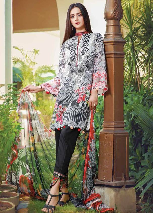 Sifona Embroidered Lawn Unstitched 3 Piece Suit SF17B 02