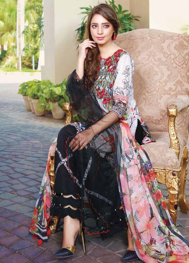 Sifona Embroidered Lawn Unstitched 3 Piece Suit SF17B 12