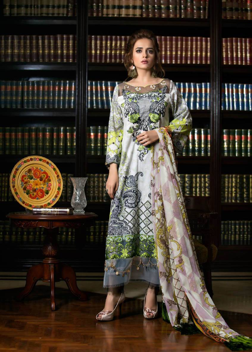 Sifona Embroidered Lawn Unstitched 3 Piece Suit SF17E2 11
