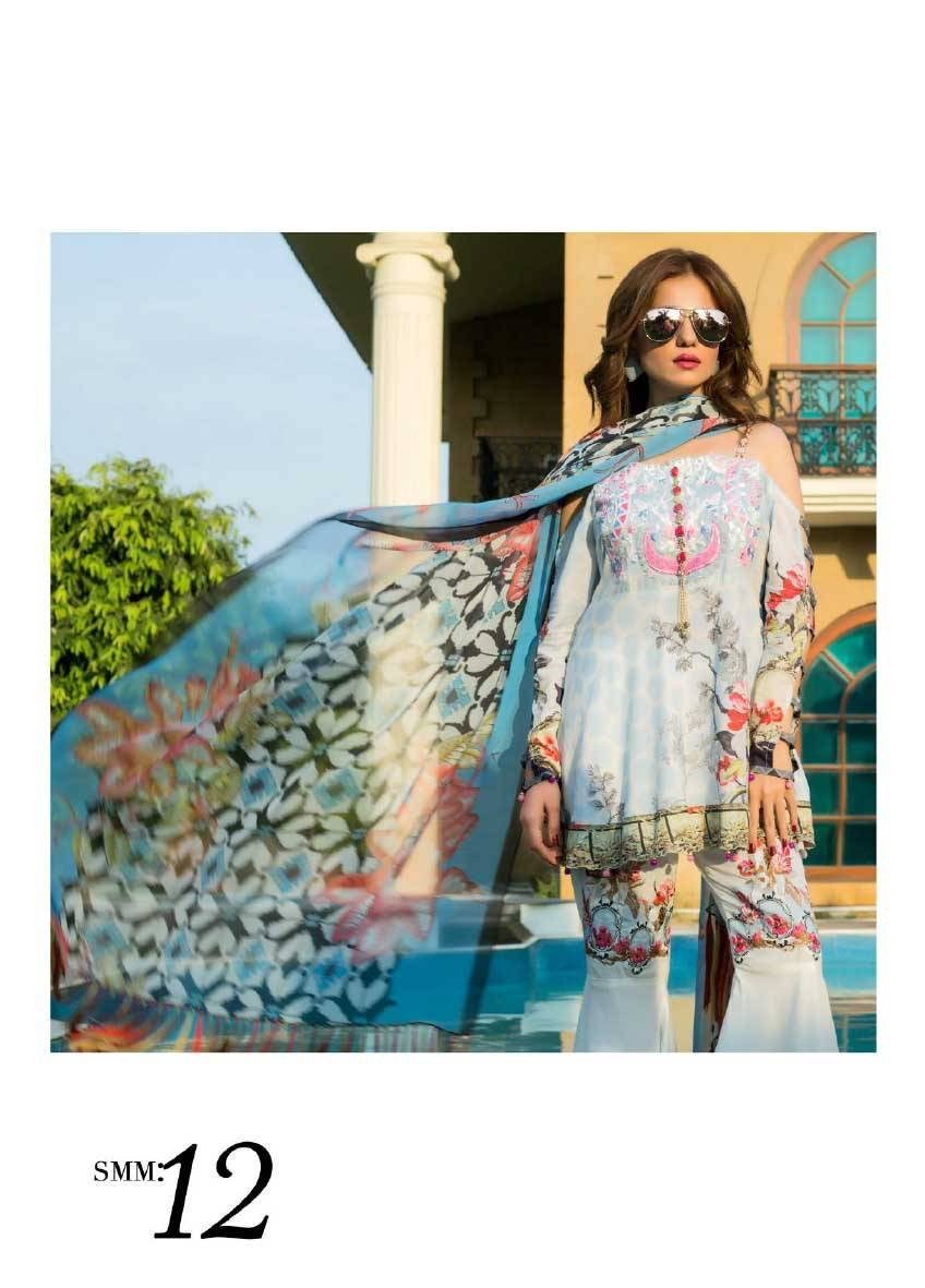 Sifona Embroidered Lawn Unstitched 3 Piece Suit SF17E2 12
