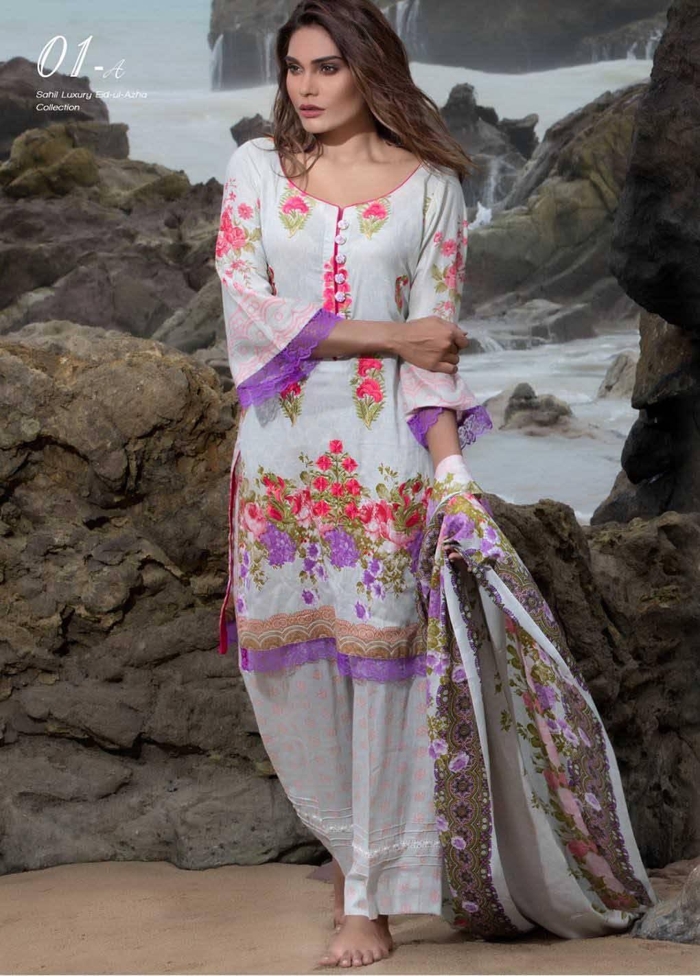 Sahil By ZS Textiles Embroidered Lawn Unstitched 3 Piece Suit SH17E2 1A