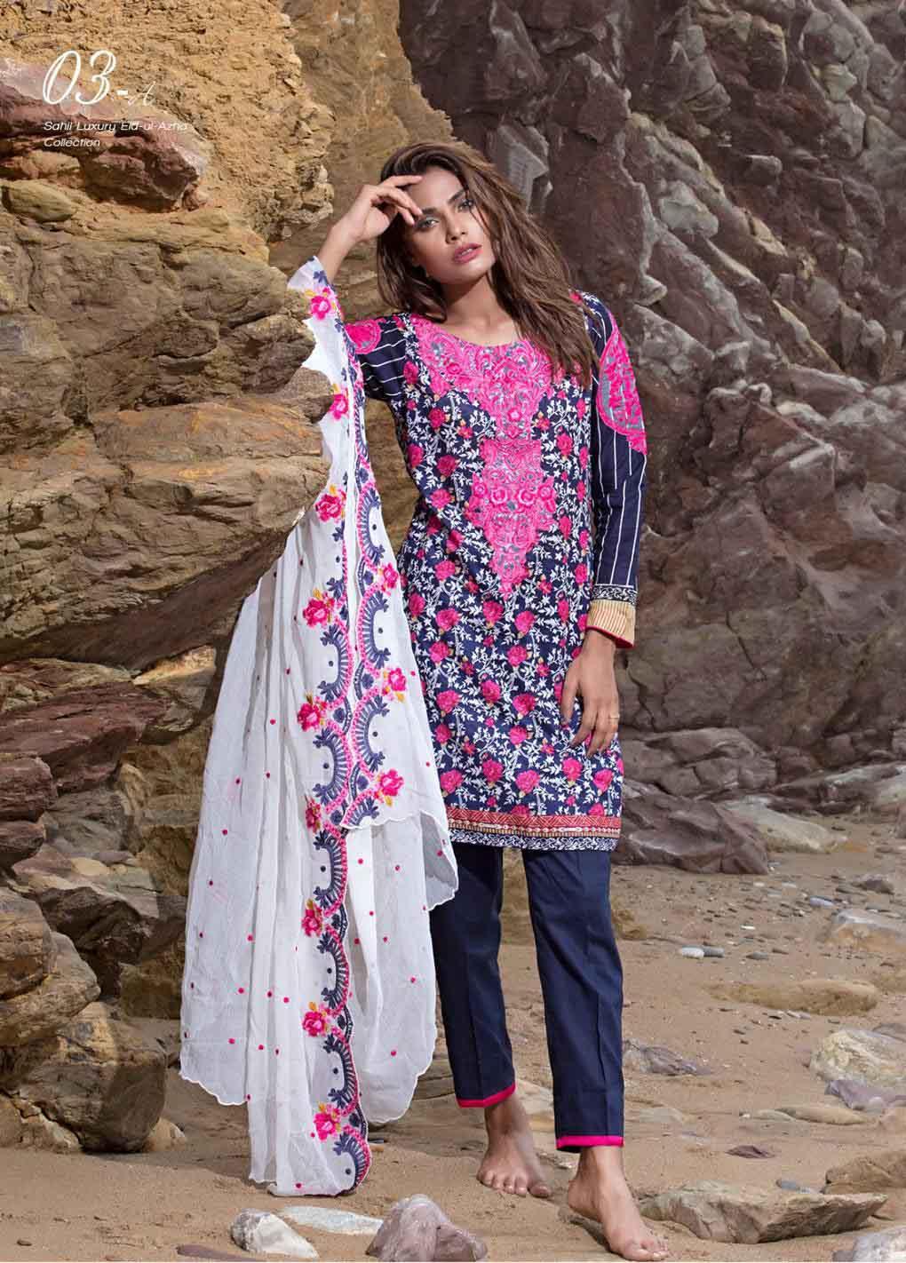 Sahil By ZS Textiles Embroidered Lawn Unstitched 3 Piece Suit SH17E2 3A