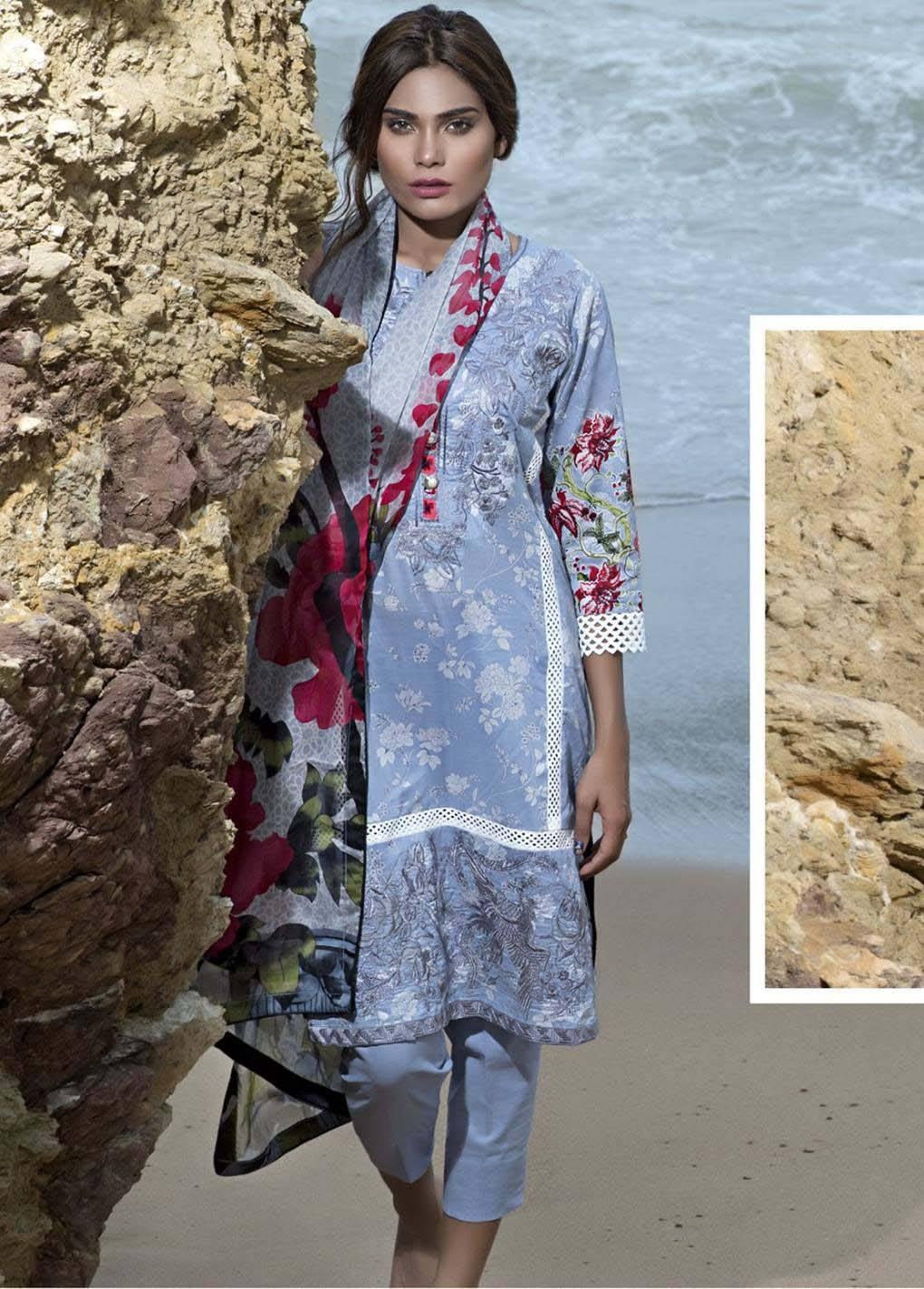 Sahil By ZS Textiles Embroidered Lawn Unstitched 3 Piece Suit SH17E2 4B