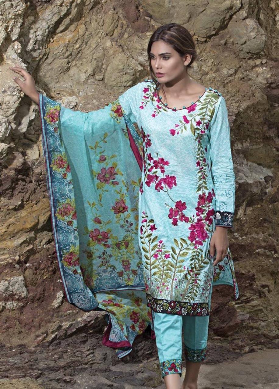 Sahil By ZS Textiles Embroidered Lawn Unstitched 3 Piece Suit SH17E2 5A