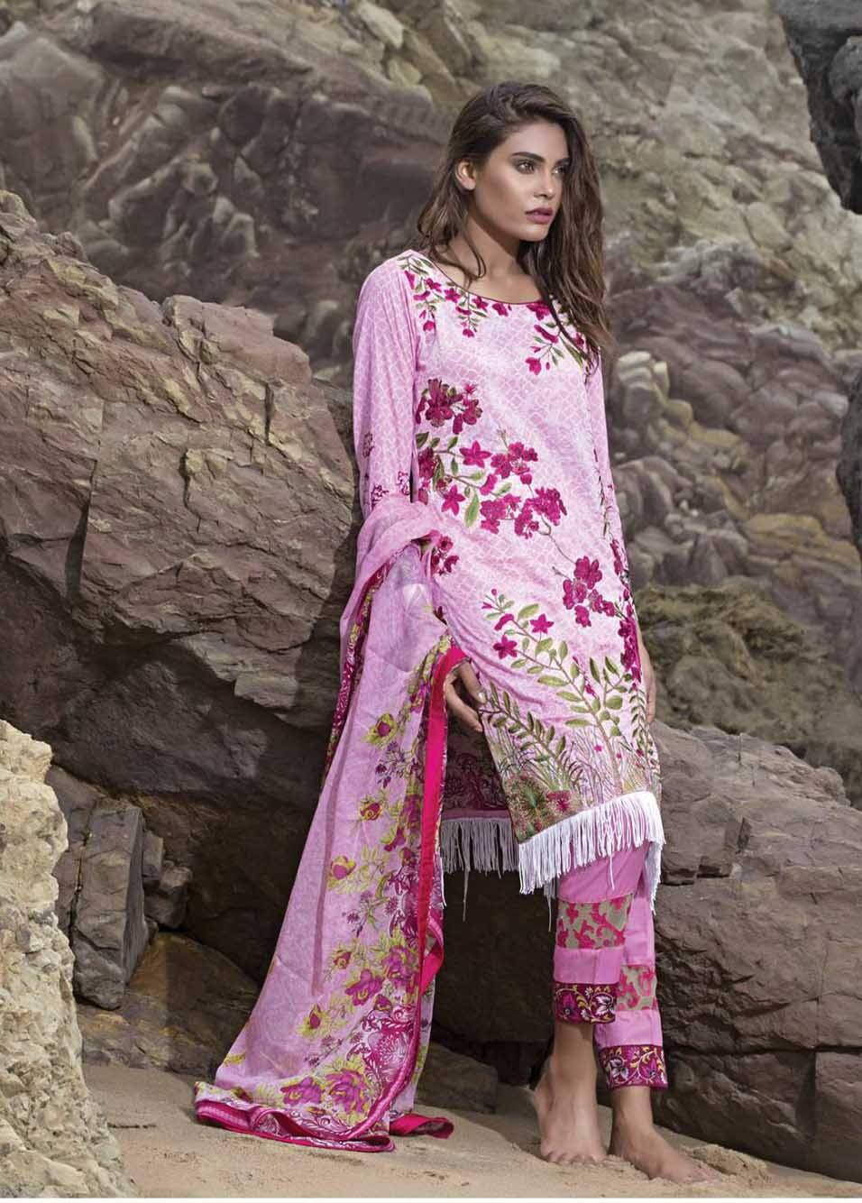 Sahil By ZS Textiles Embroidered Lawn Unstitched 3 Piece Suit SH17E2 5B