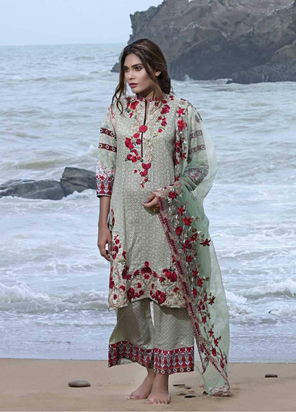 Sahil By ZS Textiles Embroidered Lawn Unstitched 3 Piece Suit SH17E2 7A