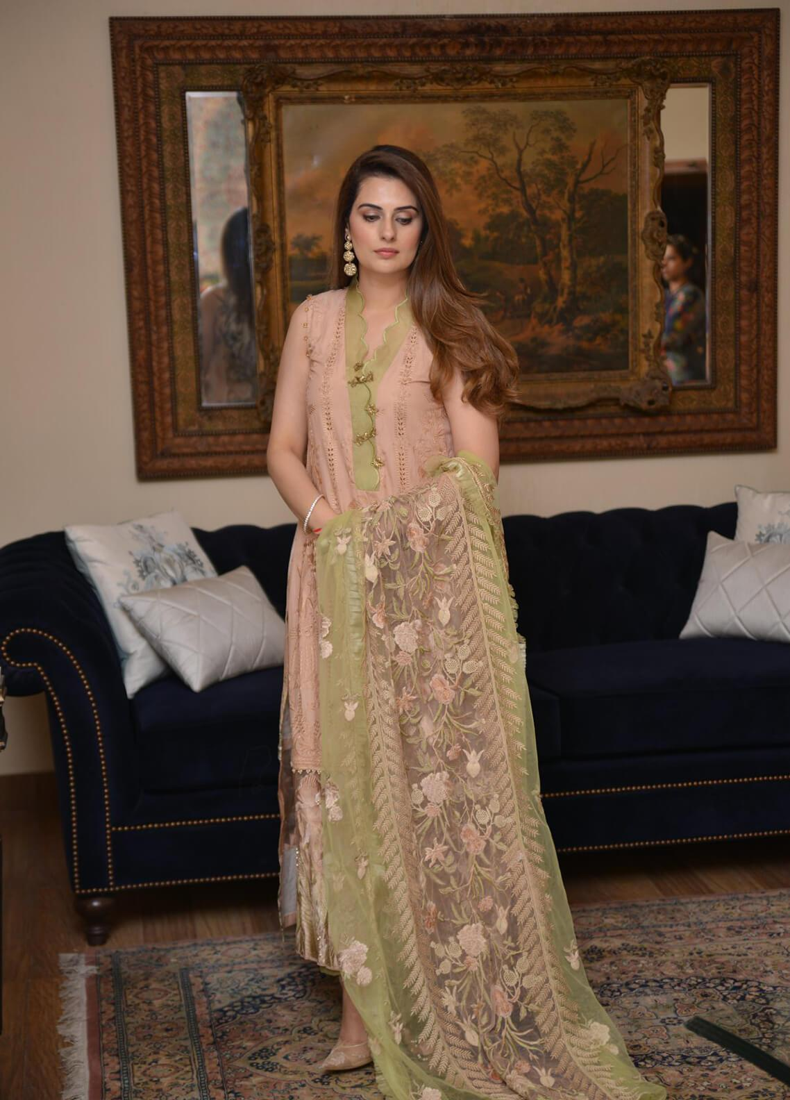 b340fc4d42 Shiza Hassan Embroidered Lawn Unstitched 3 Piece Suit SH19L 11B IRIS -  Spring / Summer Collection
