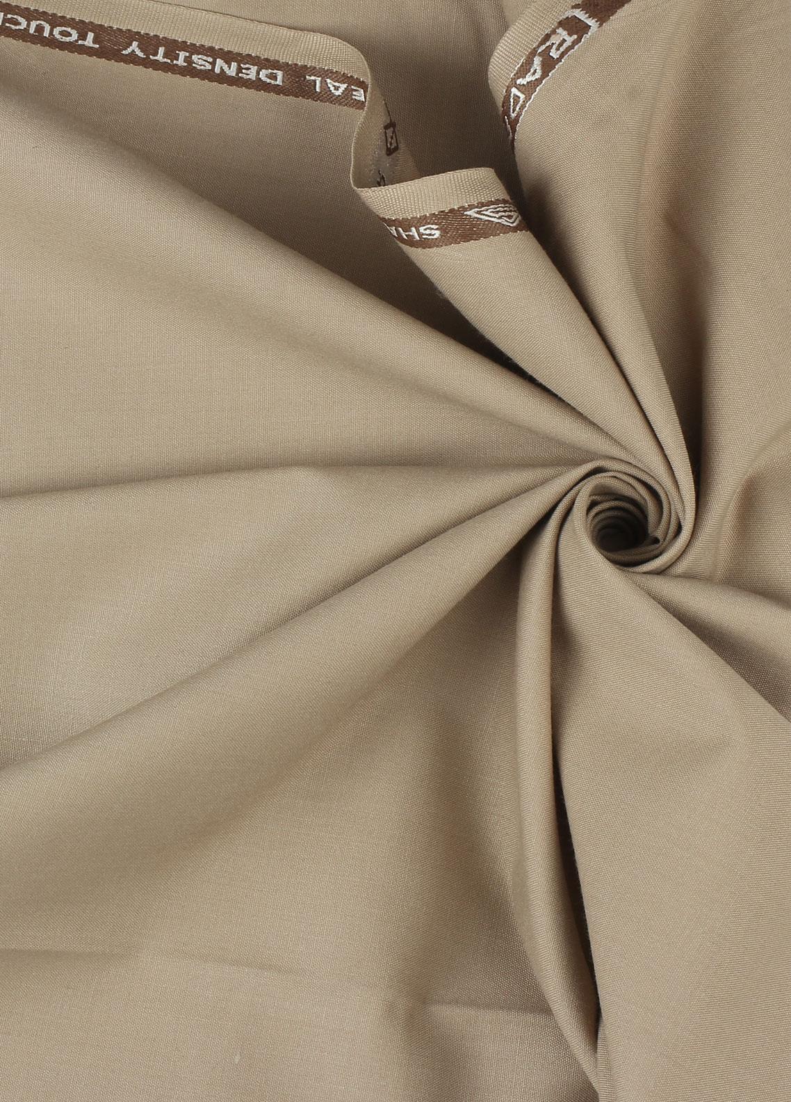 Shabbir Fabrics Plain Wash N Wear Unstitched Fabric SHBP-0027 Camel - Summer Collection
