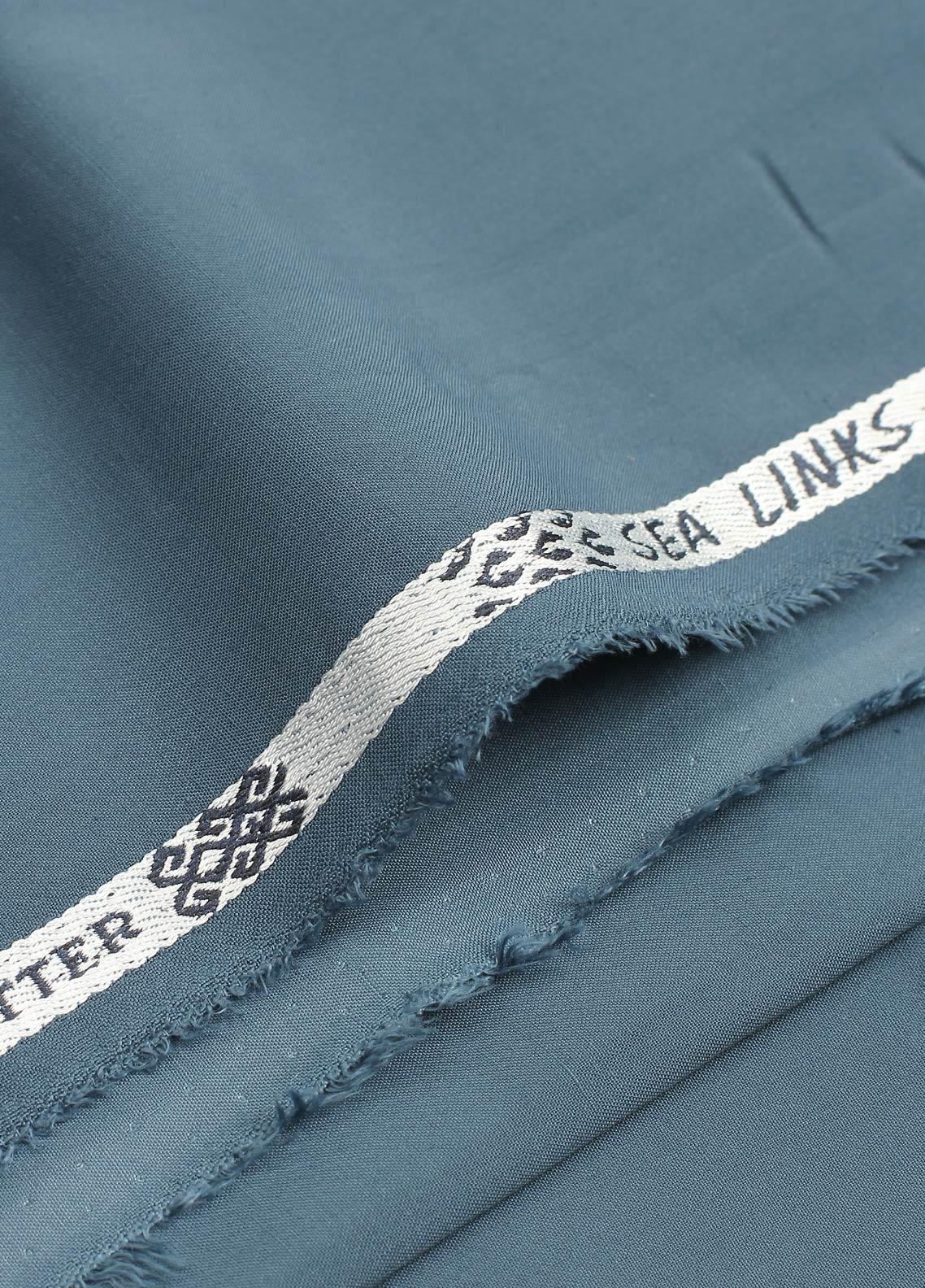 Shabbir Fabrics Plain Wash N Wear Unstitched Fabric SHBP-0026 TEAL BLUE - Summer Collection