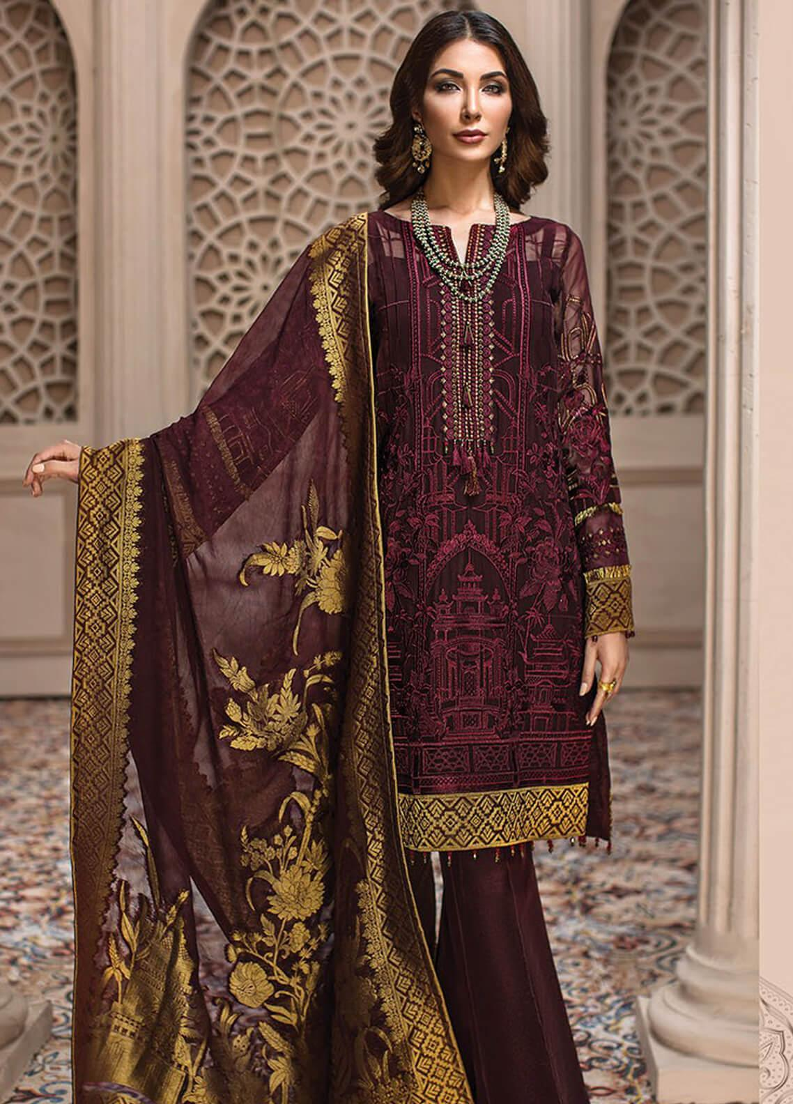 Jazmin Embroidered Chiffon Unstitched 3 Piece Suit JZ19E 1 ROYELLE - Eid Collection