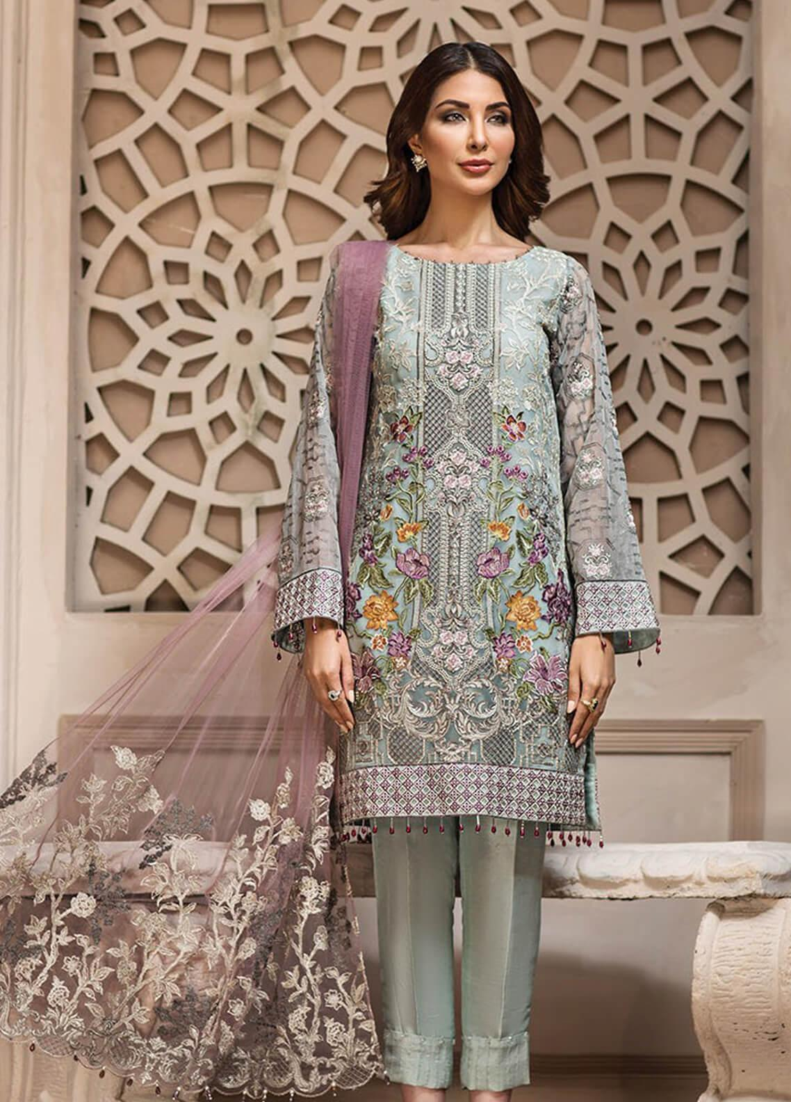 989d3116cc Jazmin Embroidered Chiffon Unstitched 3 Piece Suit JZ19E 2 LARMINA - Eid  Collection