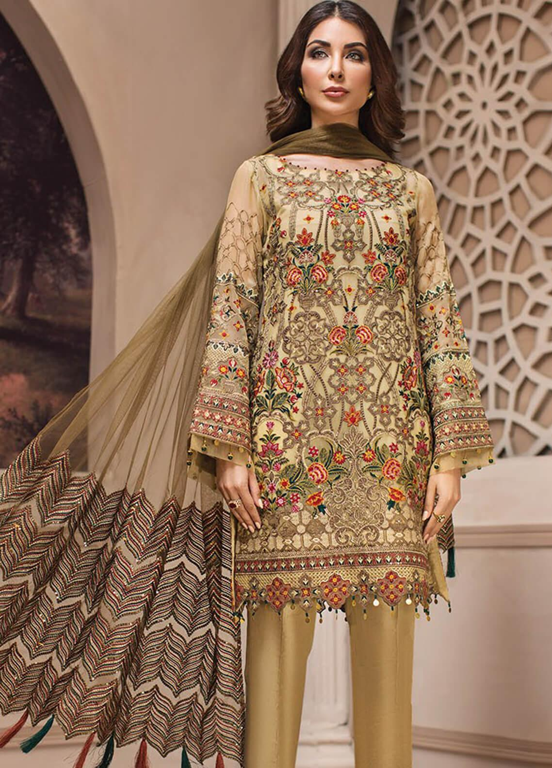 Jazmin Embroidered Chiffon Unstitched 3 Piece Suit JZ19E 3 KASHM - Eid Collection