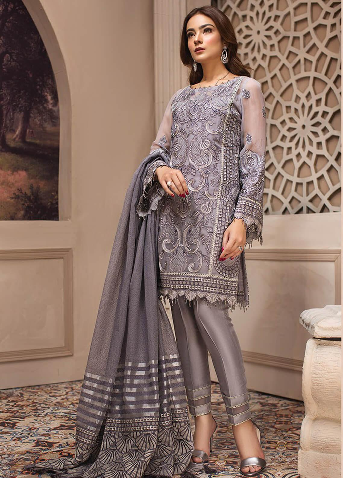 Jazmin Embroidered Chiffon Unstitched 3 Piece Suit JZ19E 4 AFSHANEH - Eid Collection