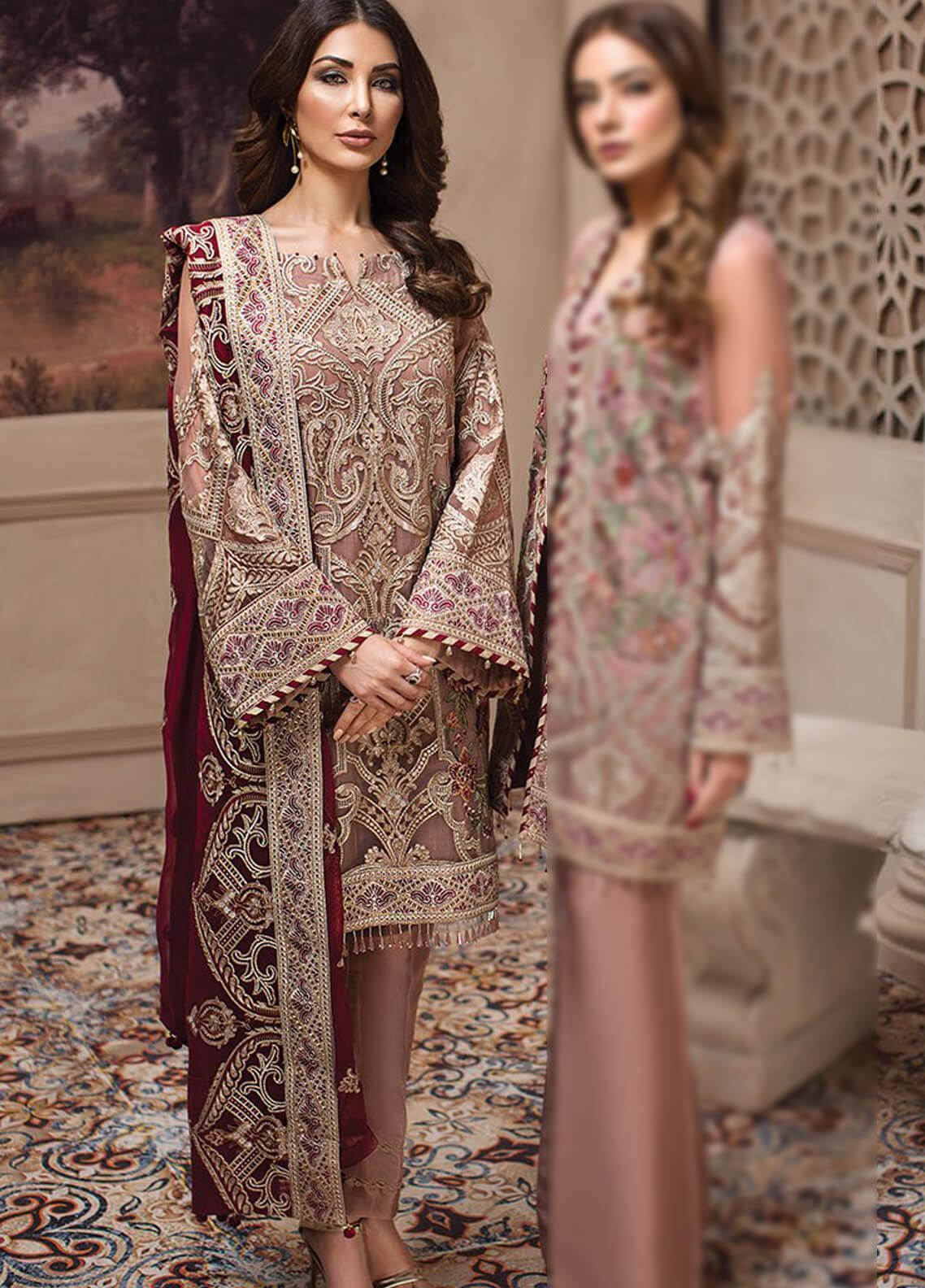 45c055f1a5 Jazmin Embroidered Chiffon Unstitched 3 Piece Suit JZ19E 5 CYRA - Eid  Collection