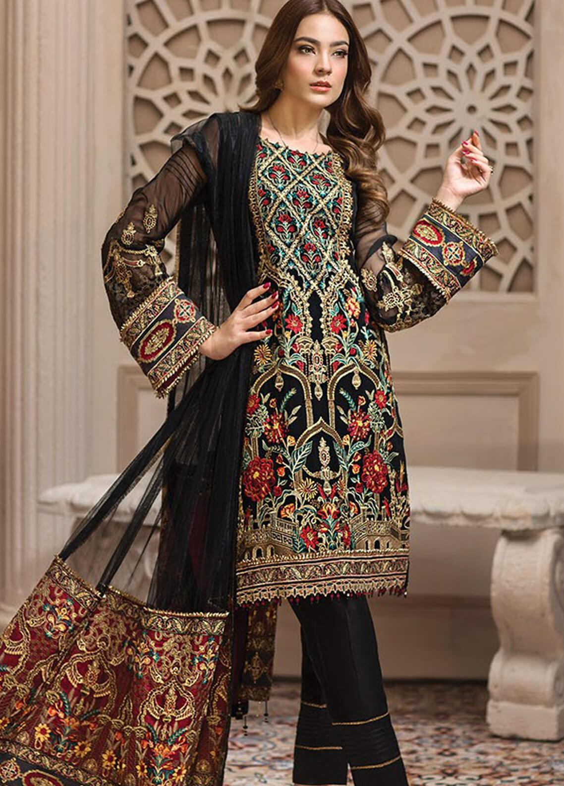 Jazmin Embroidered Chiffon Unstitched 3 Piece Suit JZ19E 7 LEILYN - Eid Collection