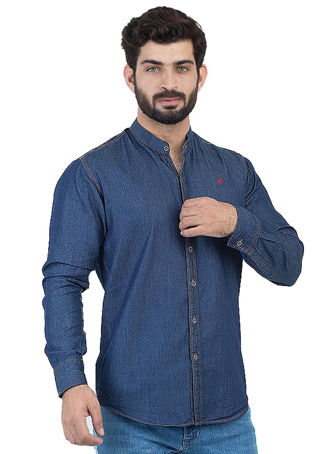 Shahzeb Saeed Denim Casual Men Shirts - Blue CSW-124