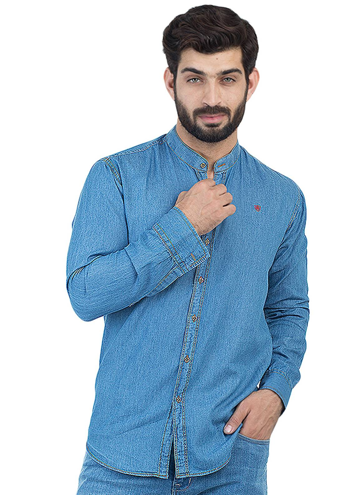 Shahzeb Saeed Denim Casual Shirts for Men - Sky Blue CSW-126