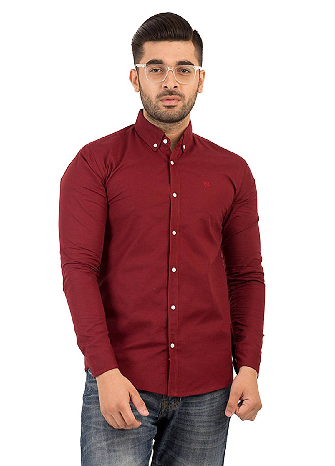 Shahzeb Saeed Cotton Casual Shirts for Men - Maroon CSW-132