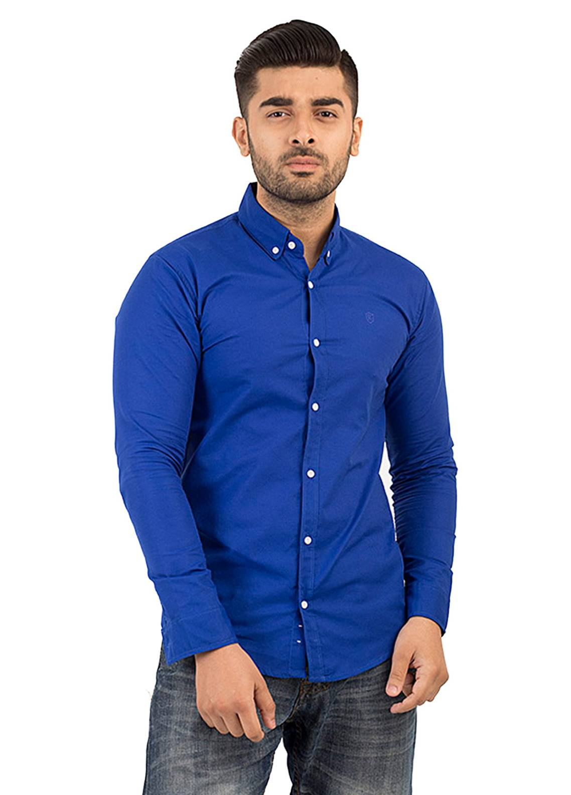Shahzeb Saeed Cotton Casual Shirts for Men - Royal Blue CSW-138