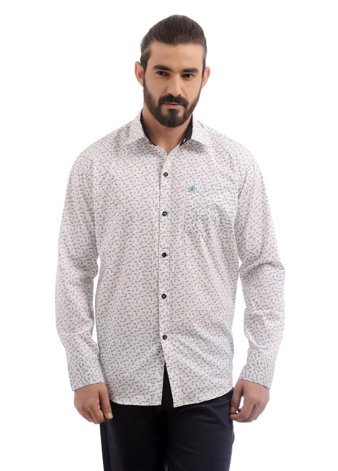 Shahzeb Saeed Cotton Casual Men Shirts - White CSW-88